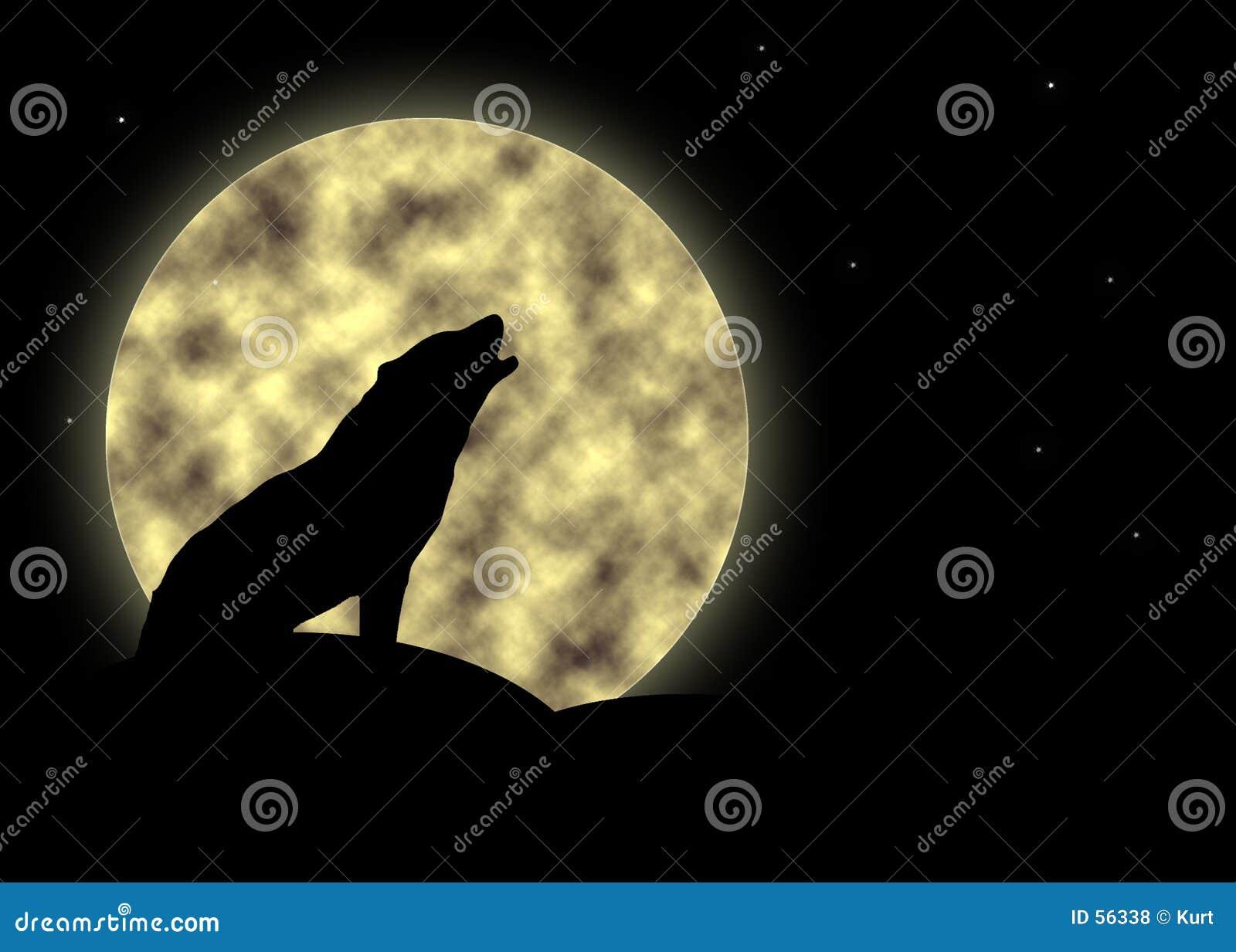Download ουρλιάζοντας φεγγάρι απεικόνιση αποθεμάτων. εικονογραφία από σκιαγραφία - 56338