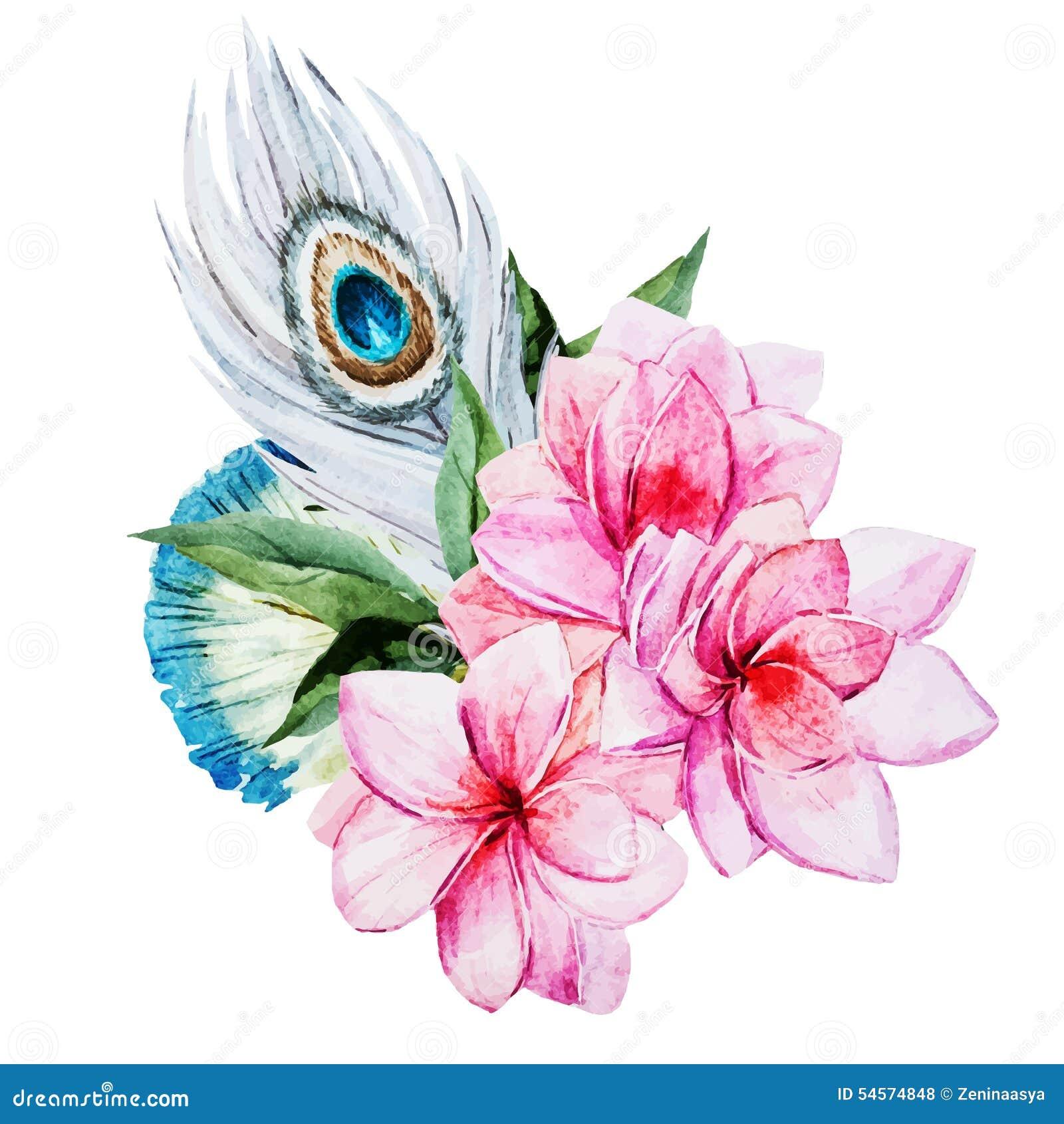 λουλούδια ι συντακτών watercolor εικόνων ζωγραφικής