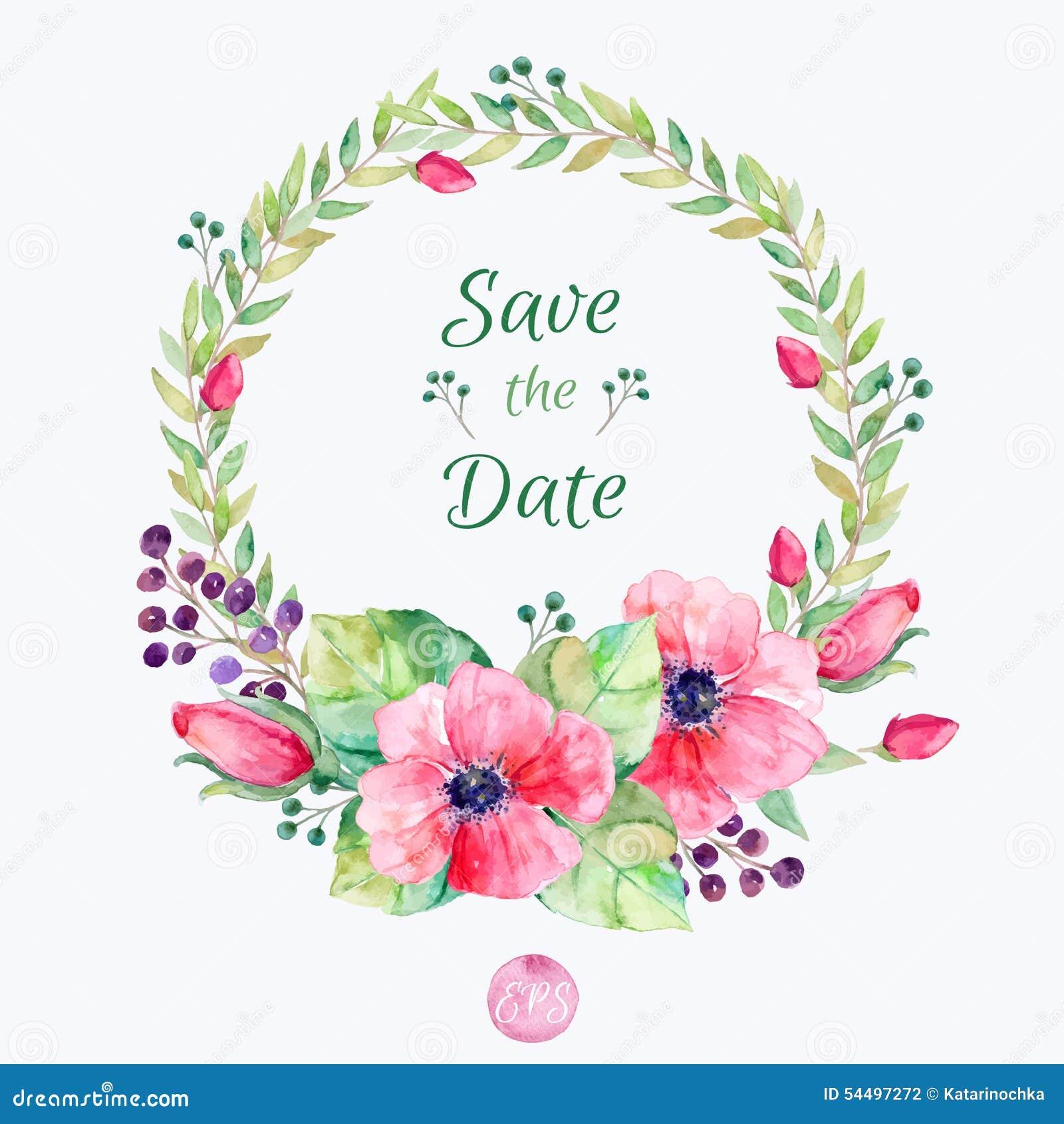 λουλούδια που τίθεντα&iot Ζωηρόχρωμη floral συλλογή με τα φύλλα και τα λουλούδια, που σύρουν το watercolor