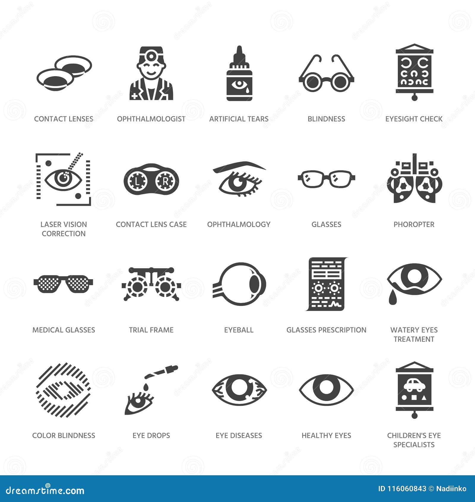 Οφθαλμολογία, εικονίδια υγειονομικής περίθαλψης ματιών glyph Εξοπλισμός οπτομετρίας, φακοί επαφής, γυαλιά, τύφλωση Διόρθωση οράμα