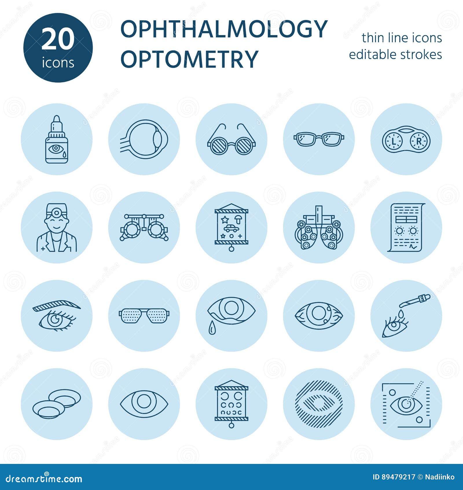 Οφθαλμολογία, εικονίδια γραμμών υγειονομικής περίθαλψης ματιών Εξοπλισμός οπτομετρίας, φακοί επαφής, γυαλιά, τύφλωση Διόρθωση ορά