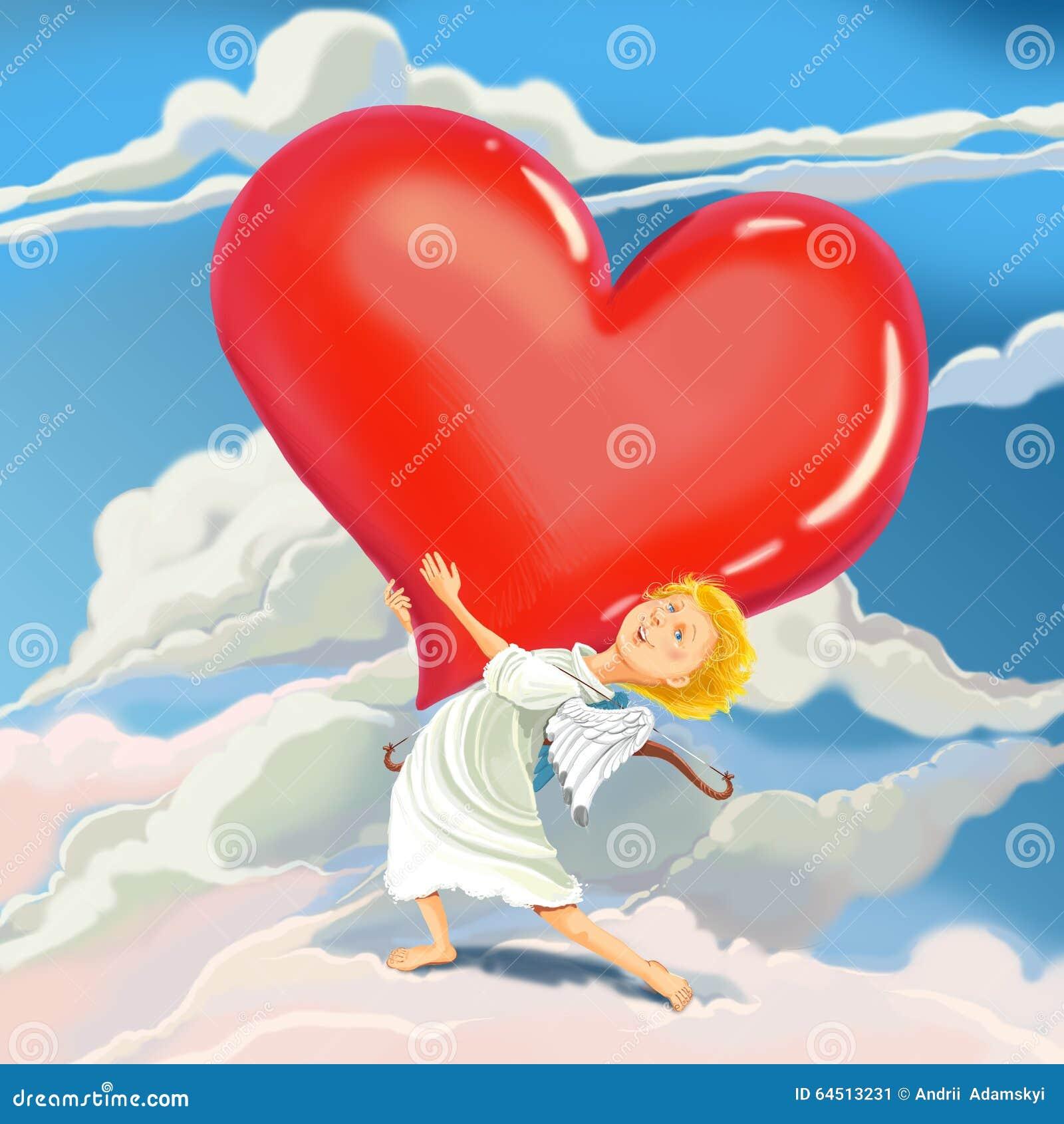 Ο άγγελος Cupid φέρνει την καρδιά της αγάπης