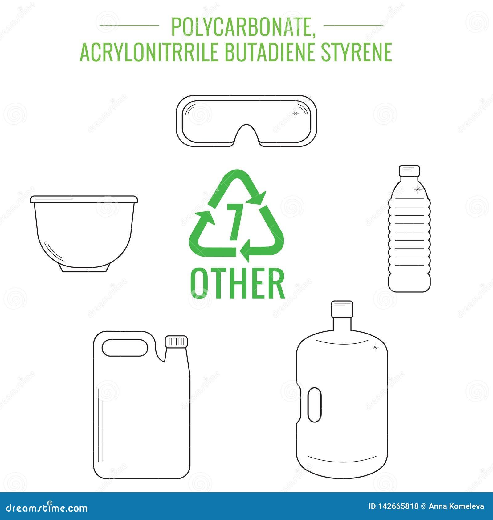 Διανυσματικά πλαστικά ανακυκλώσιμα στοιχεία