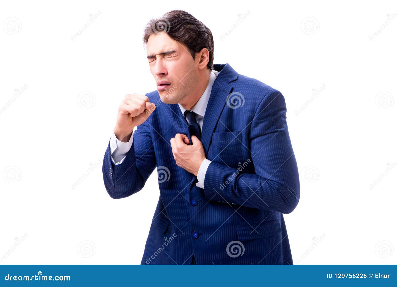 Ο άρρωστος και δυστυχισμένος επιχειρηματίας που απομονώνεται στο άσπρο υπόβαθρο