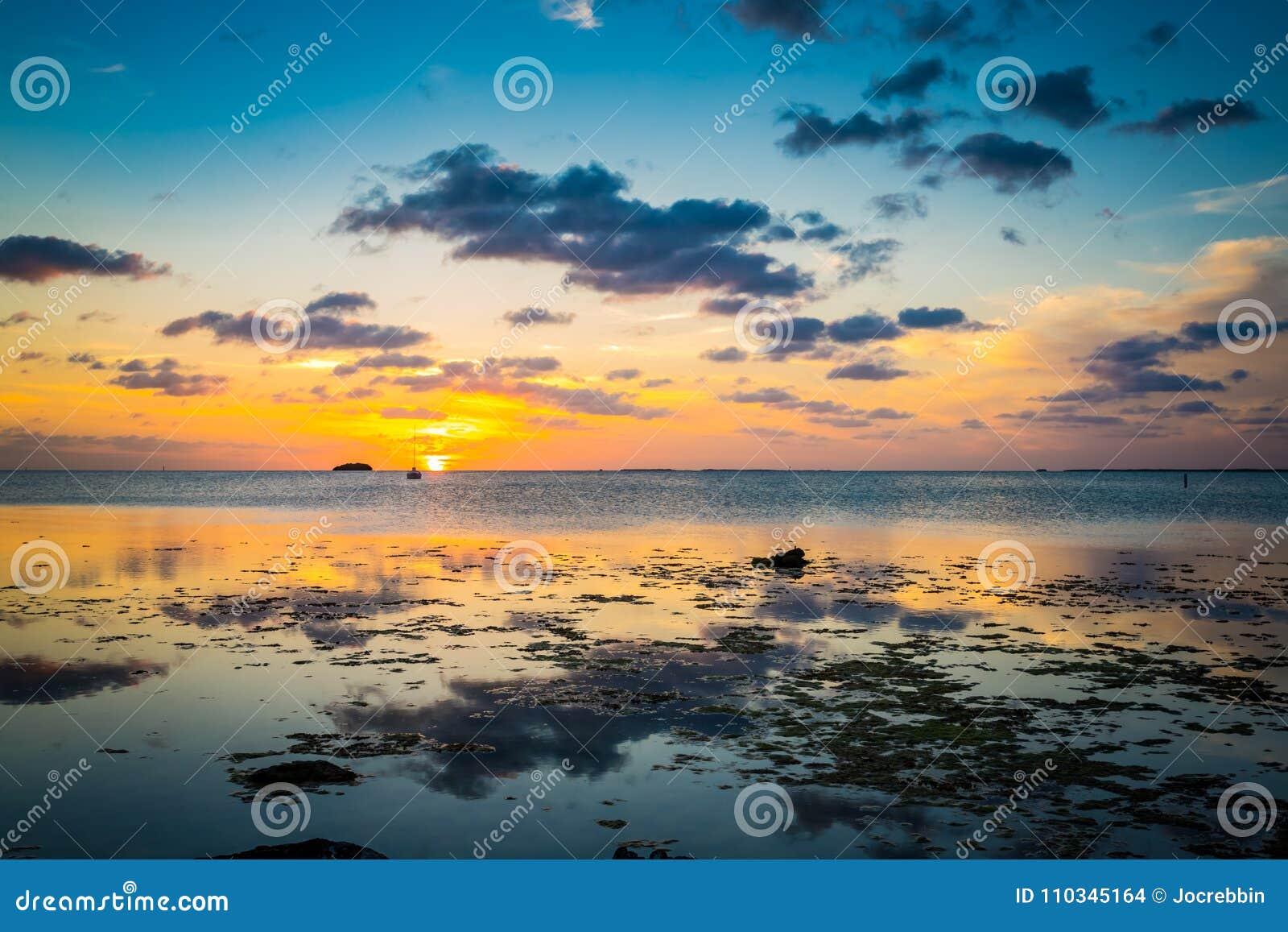 Ο ήλιος μειώνεται αργά πέρα από το βασικό δυτικό νερό σε ΛΦ