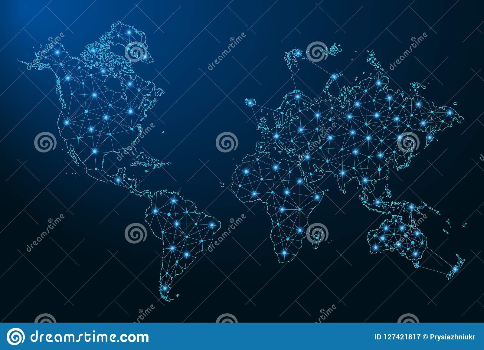 Ο αφηρημένος παγκόσμιος χάρτης δημιούργησε από τις γραμμές και τα φωτεινά σημεία υπό μορφή έναστρου ουρανού, polygonal πλέγμα wir