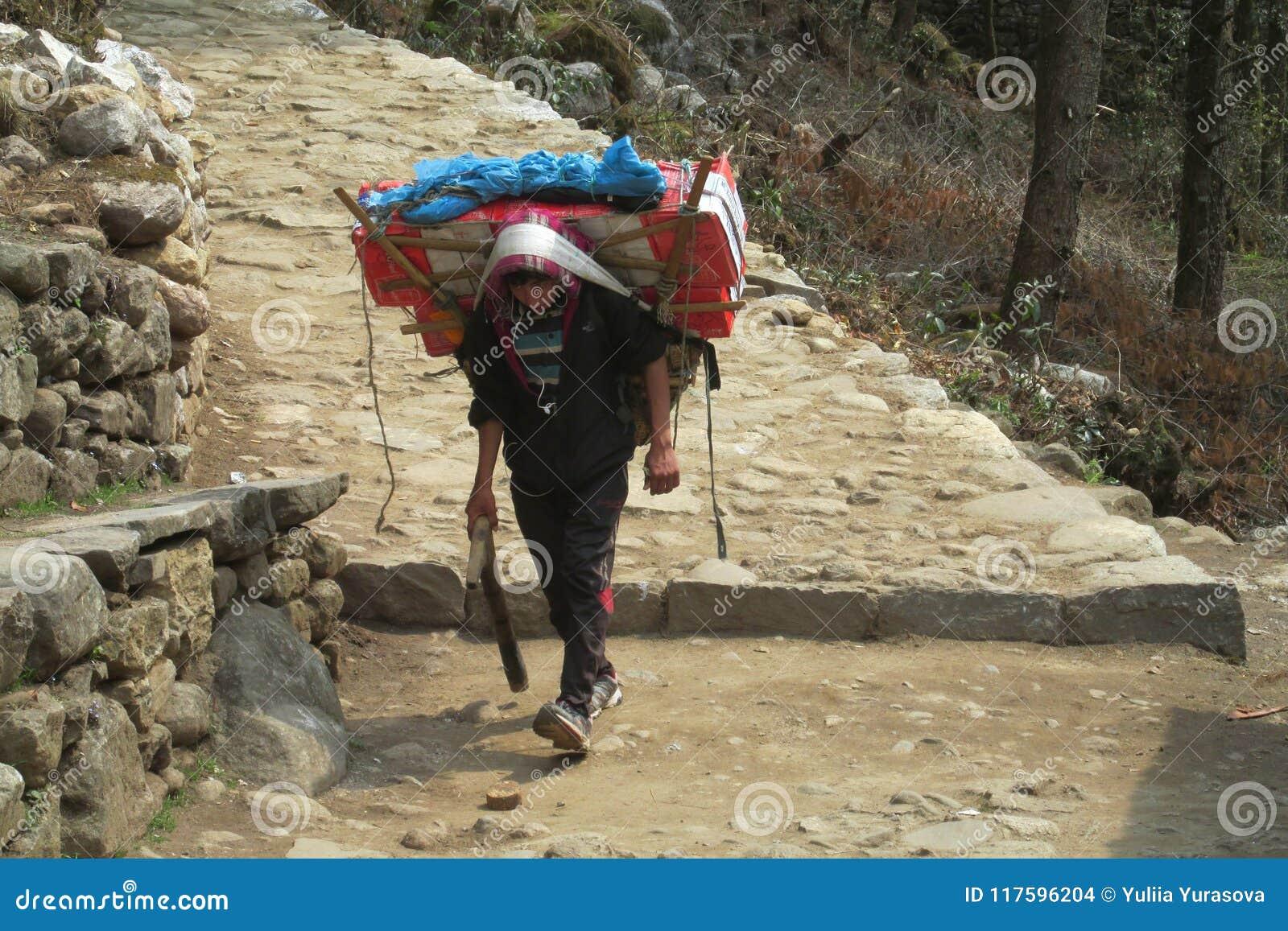 Ο αχθοφόρος Sherpa φέρνει το καλάθι στην πορεία οδοιπορίας του Νεπάλ