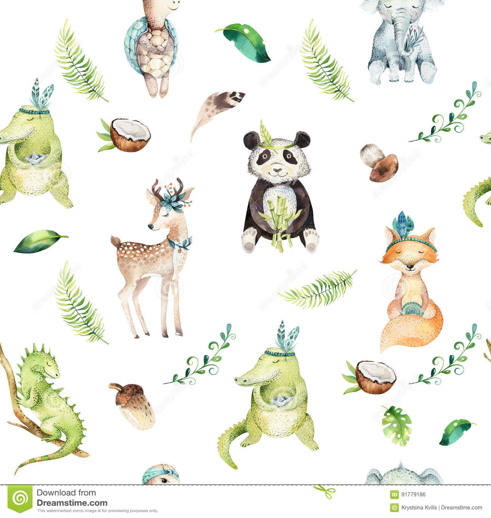 Ο βρεφικός σταθμός ζώων μωρών απομόνωσε το άνευ ραφής σχέδιο Τροπικό σχέδιο boho Watercolor, τροπικό σχέδιο παιδιών, panda, χαριτ