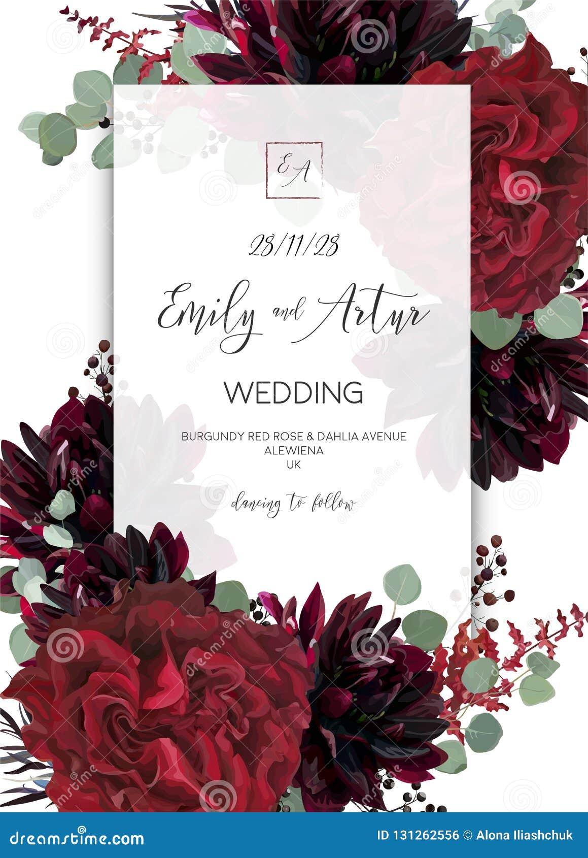 Ο γάμος προσκαλεί, πρόσκληση εκτός από το σχέδιο καρτών ημερομηνίας Κόκκινος marsal