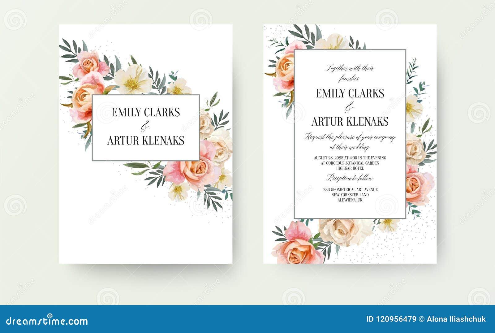 Ο γάμος floral προσκαλεί, σχέδιο καρτών πρόσκλησης: το ρόδινο ροδάκινο κήπων, πορτοκαλί αυξήθηκε, κίτρινο άσπρο λουλούδι Magnolia