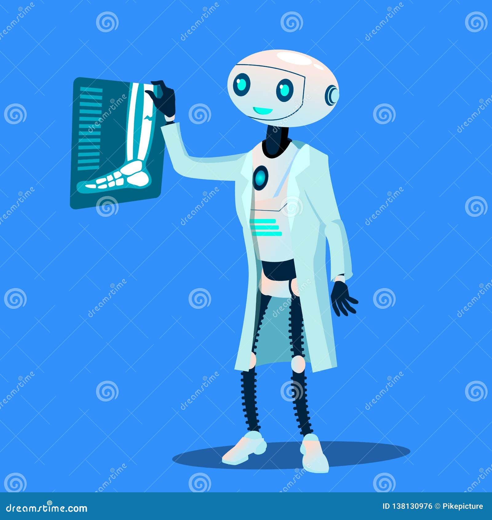 Ο γιατρός ρομπότ εξετάζει τη φωτογραφία ακτίνας X του σπασμένου διανύσματος ποδιών απομονωμένη ωθώντας s κουμπιών γυναίκα έναρξης