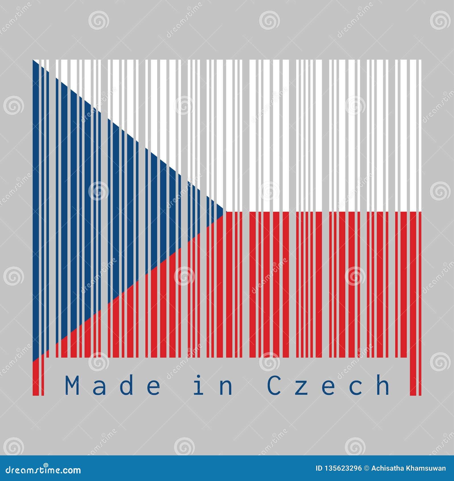 Ο γραμμωτός κώδικας έθεσε το χρώμα της τσεχικής σημαίας, δύο ίσος οριζόντιος άσπρος και κόκκινος με ένα μπλε τρίγωνο από την πλευ