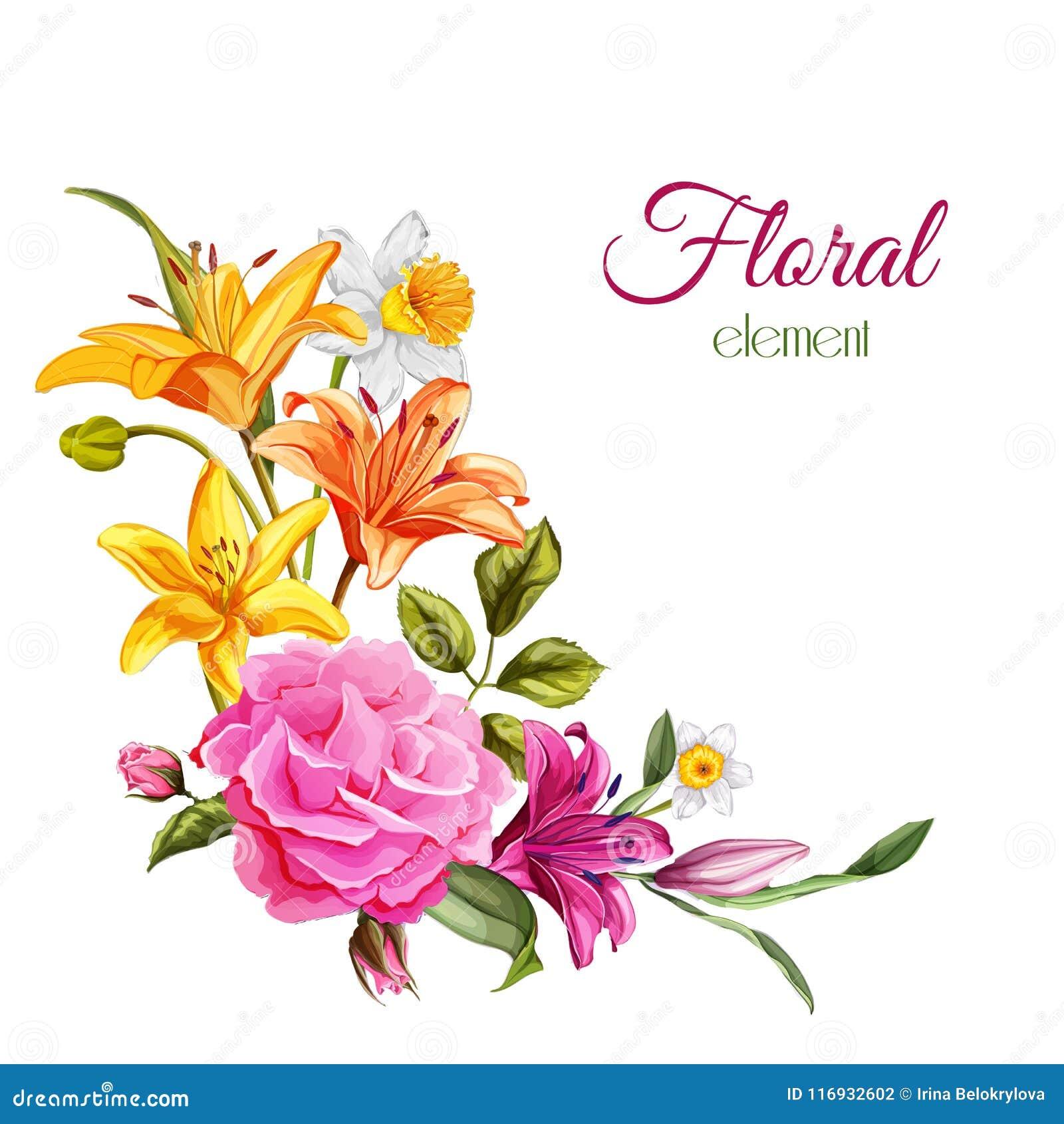 Ο διανυσματικός κρίνος watercolor αυξήθηκε γαμήλια κάρτα λουλουδιών
