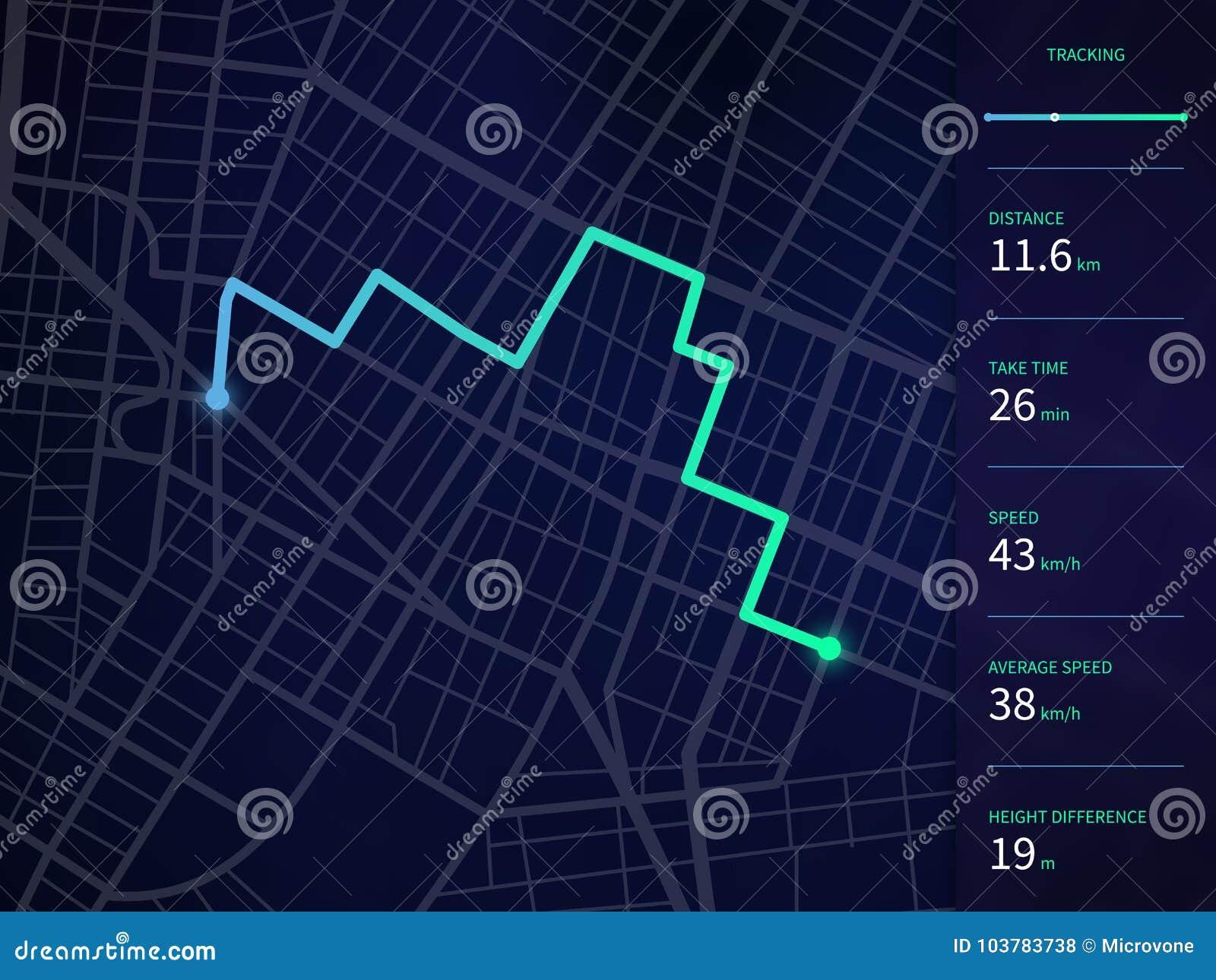 Ο διανυσματικός χάρτης πόλεων με τη διαδρομή και τα στοιχεία διασυνδέουν για τη ναυσιπλοΐα και τον ιχνηλάτη app ΠΣΤ