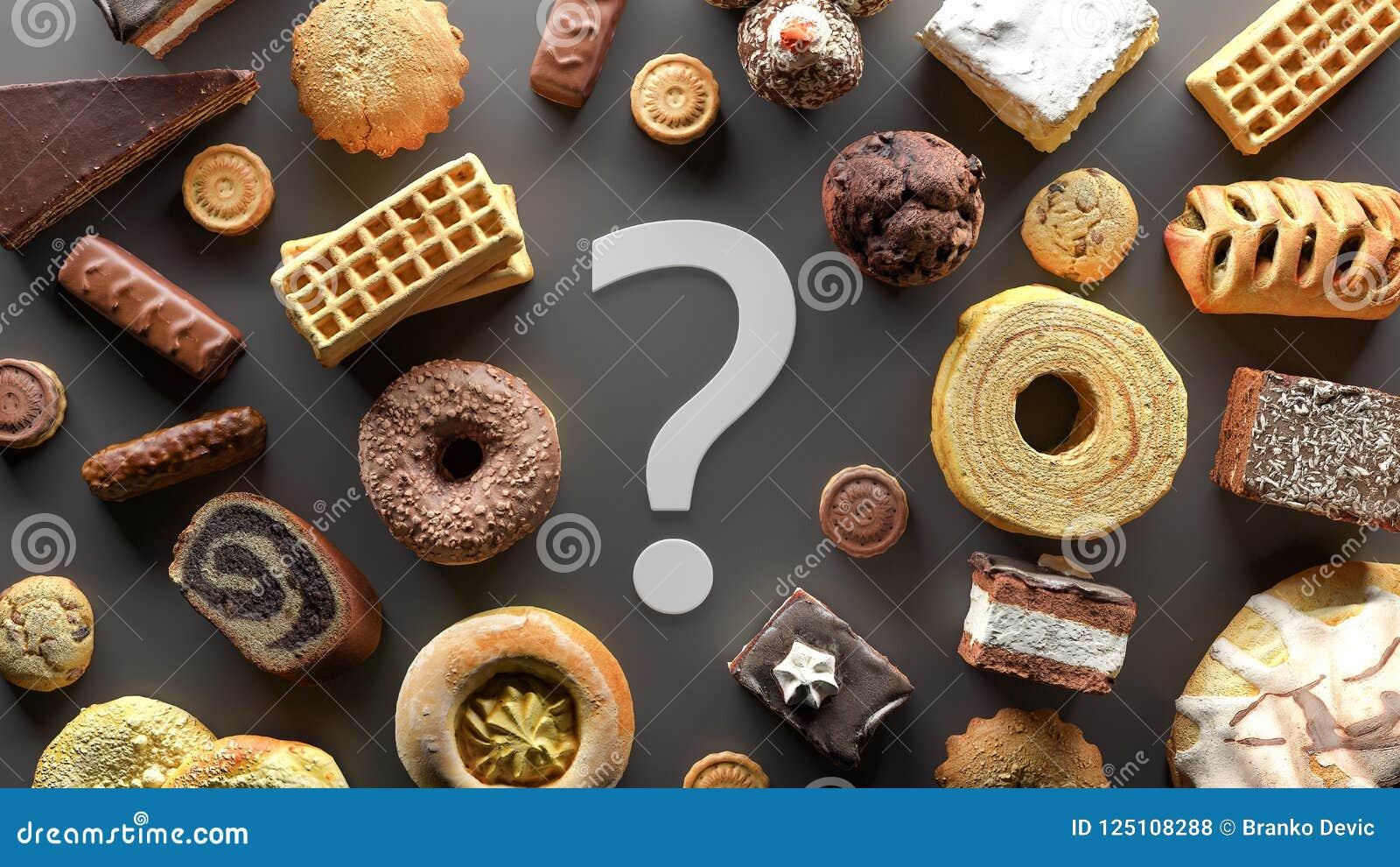 Ο εθισμός τροφίμων ζάχαρης, να κάνει δίαιτα έννοια με το σημάδι ερωτηματικών τρισδιάστατο δίνει