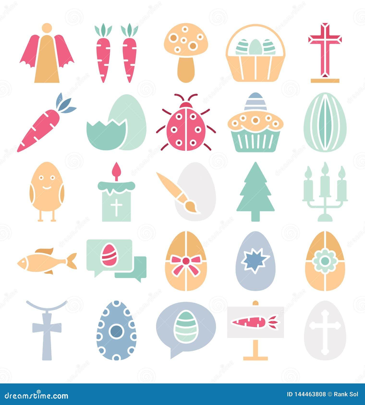 Ο εορτασμός Πάσχας απομόνωσε τα διανυσματικά εικονίδια καθορισμένα που μπορούν να τροποποιηθούν εύκολα ή να εκδώσουν