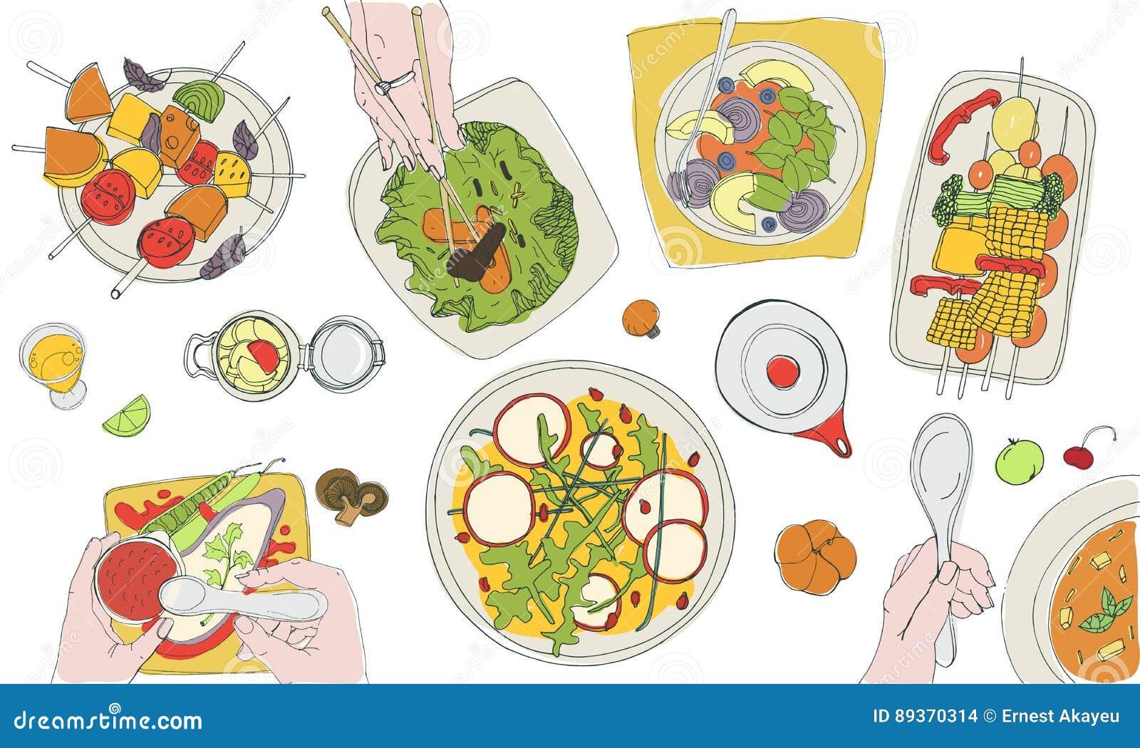 Ο εορταστικός χορτοφάγος tableful, τοποθετημένος πίνακας, διακοπές δίνει τη συρμένη ζωηρόχρωμη απεικόνιση, τοπ άποψη