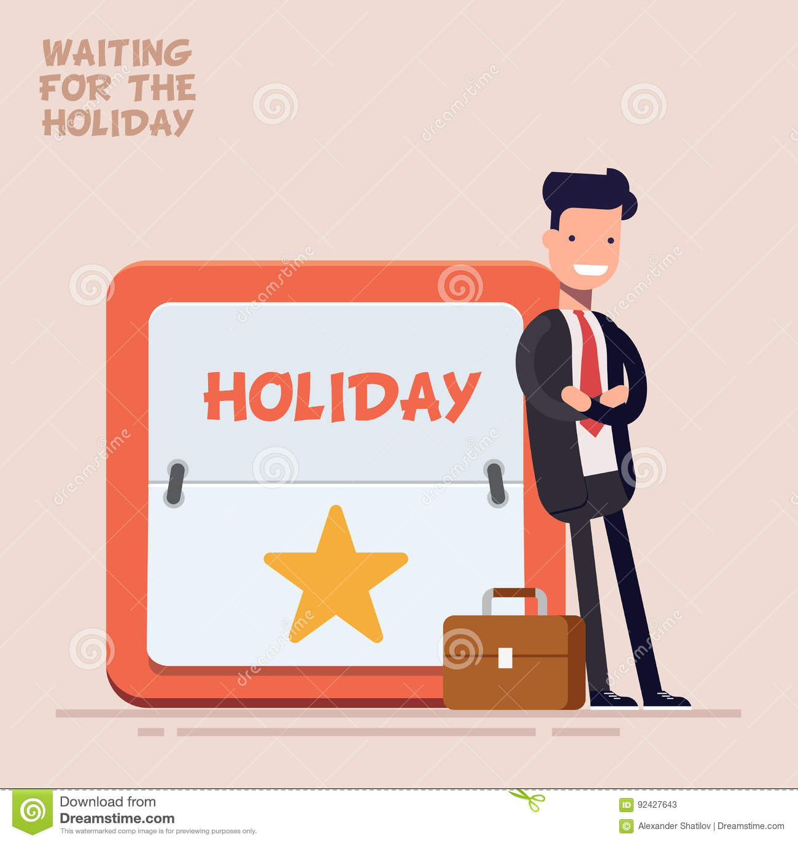 Ο επιχειρηματίας ή ο διευθυντής σε ένα επιχειρησιακό κοστούμι και μια βαλίτσα στέκεται κοντά σε ένα μεγάλο ημερολόγιο με ένα Σαββ