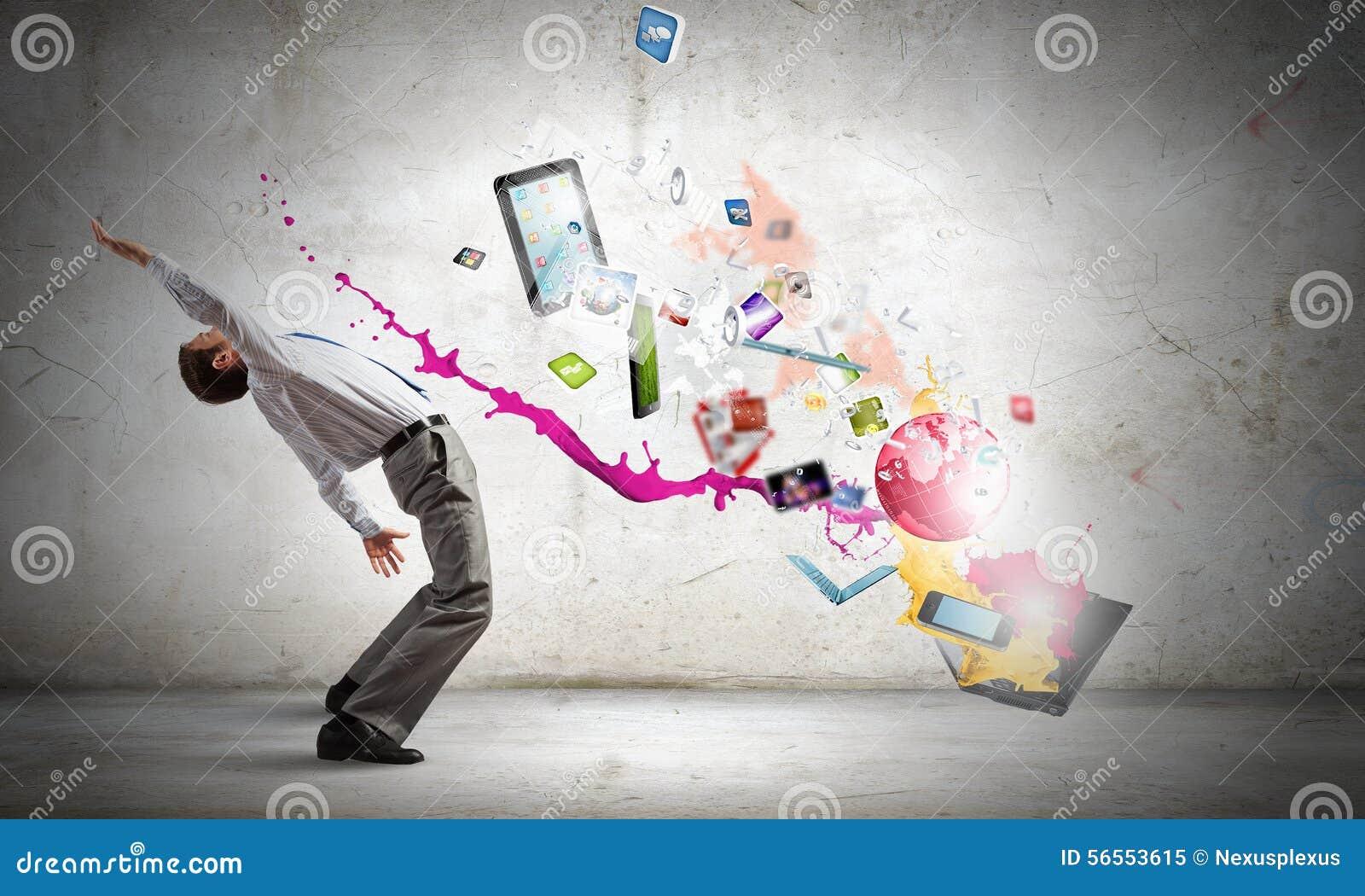 Download Ο επιχειρηματίας αποφεύγει τις ιδέες παφλασμών Στοκ Εικόνα - εικόνα από παφλασμός, συγκεντρωμένος: 56553615