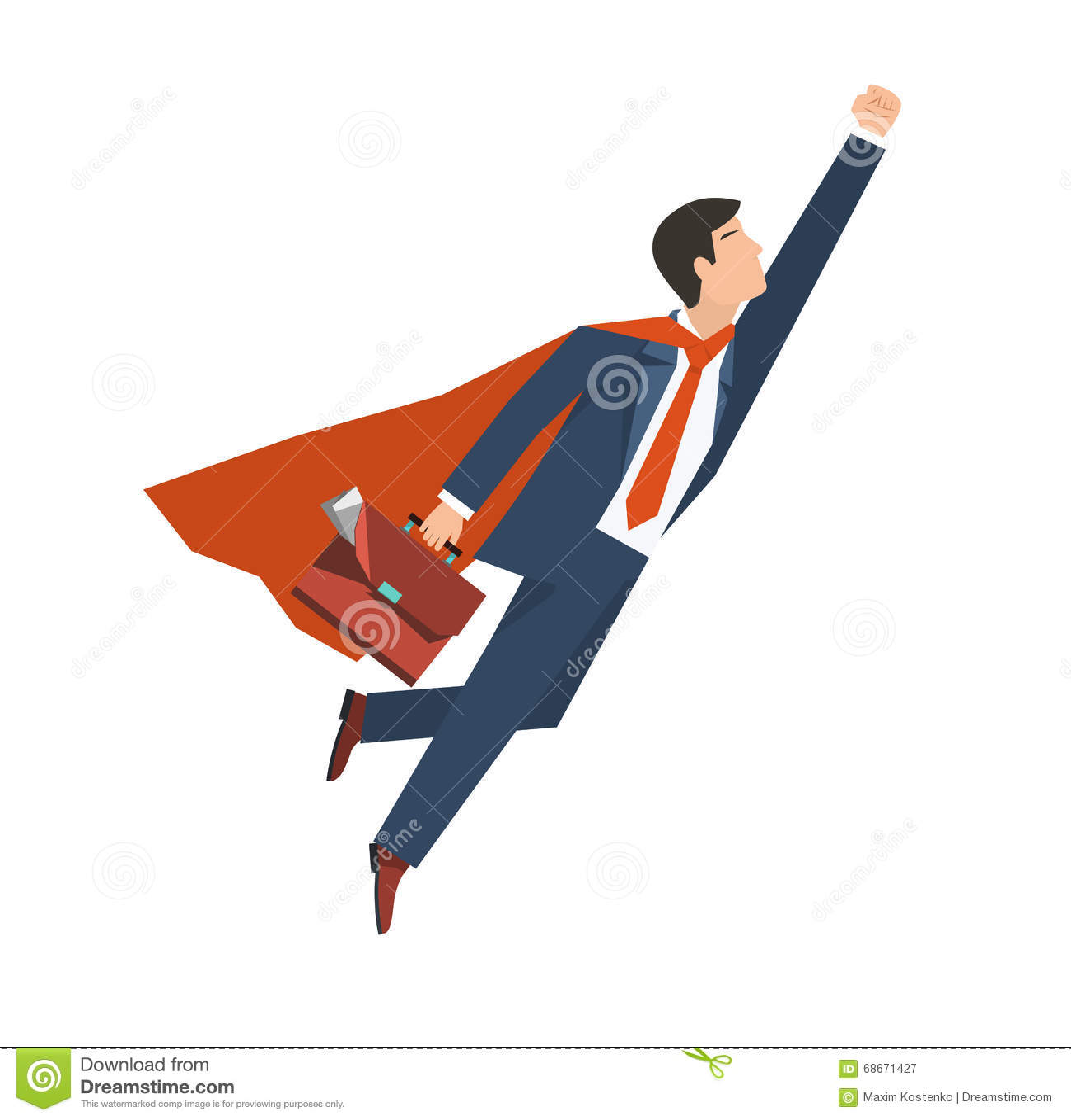 Ο επιχειρηματίας σε ένα superhero κοστουμιών πετά επάνω Έννοια αύξησης ηγεσίας και επιχειρήσεων Επίπεδο σχέδιο επίσης corel σύρετ