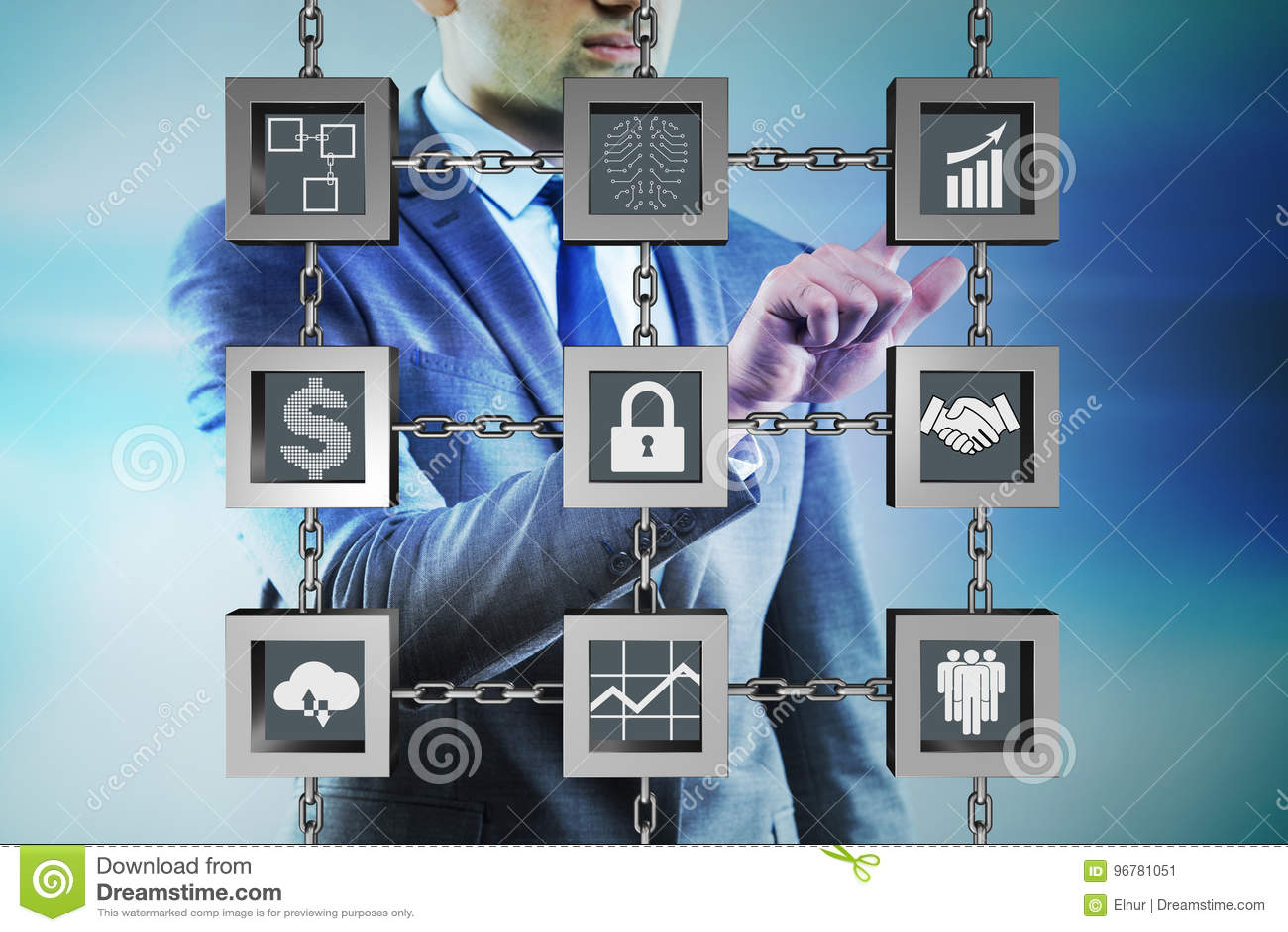 Ο επιχειρηματίας στην έννοια cryptocurrency blockchain