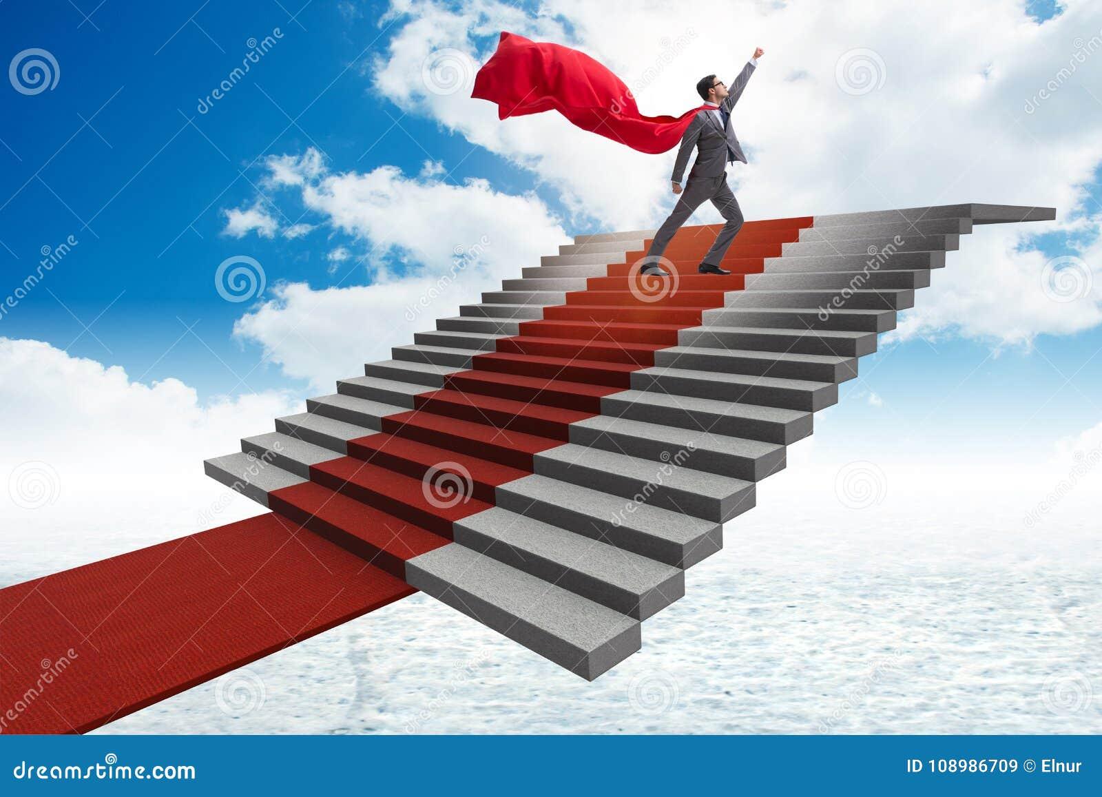 Ο επιχειρηματίας superhero που αναρριχείται στα σκαλοπάτια κόκκινου χαλιού