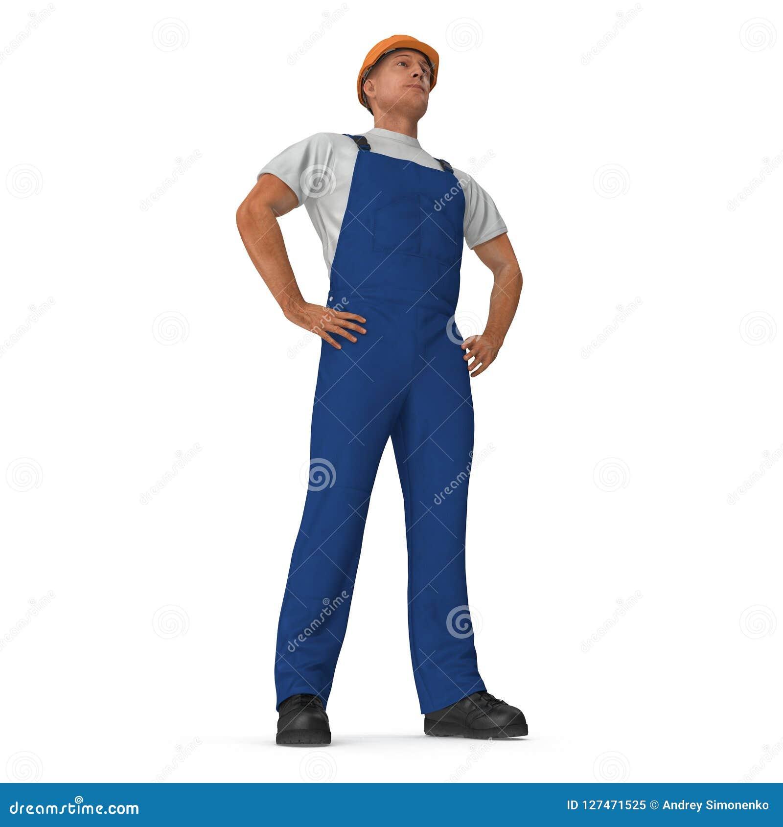 Ο εργάτης οικοδομών σε μπλε συνολικά με Hardhat που στέκεται θέτει απομονωμένος στο άσπρο υπόβαθρο τρισδιάστατη απεικόνιση