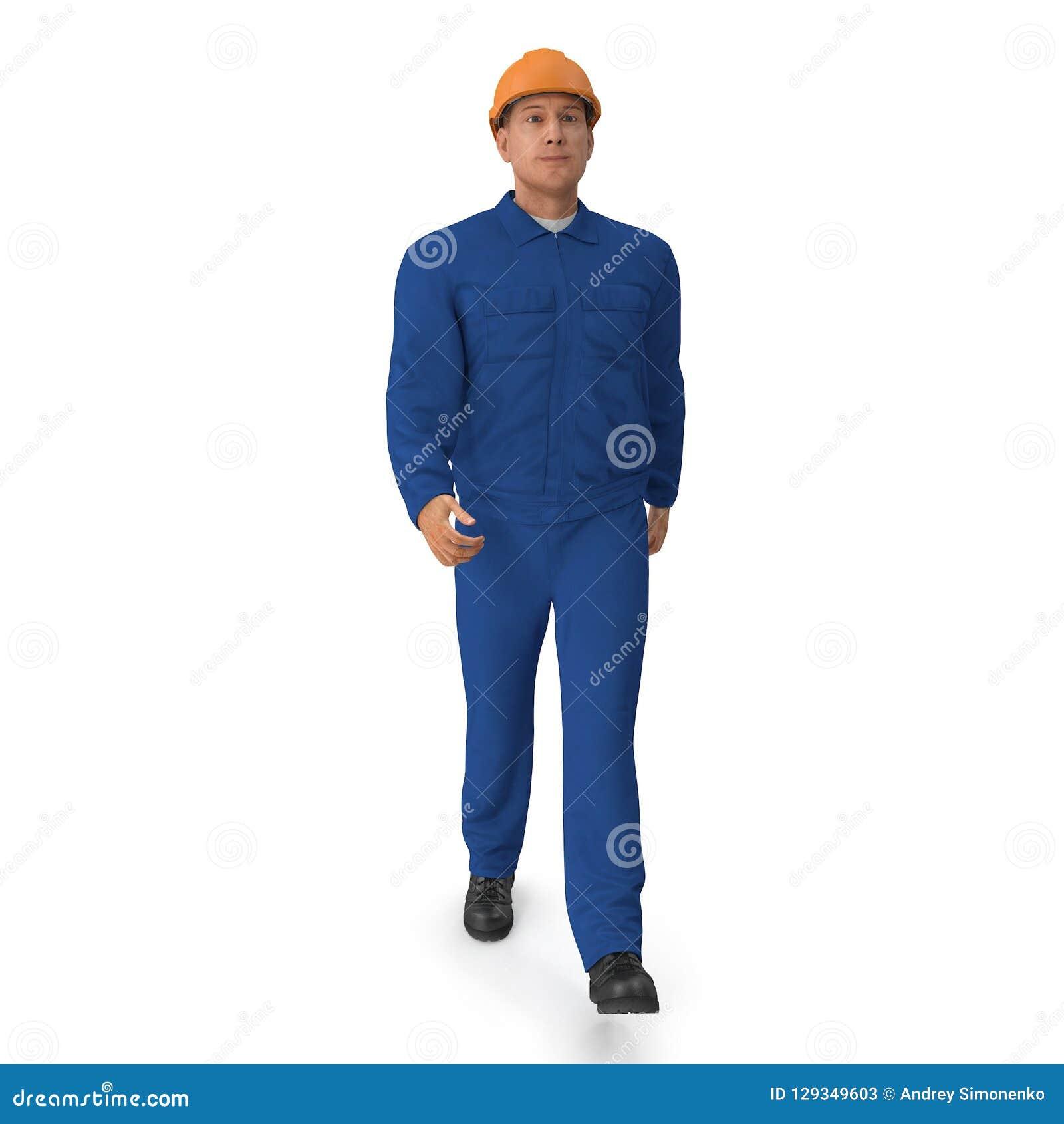 Ο εργάτης οικοδομών στην μπλε φόρμα με Hardhat που στέκεται θέτει απεικόνιση, που απομονώνεται τρισδιάστατη, στο λευκό