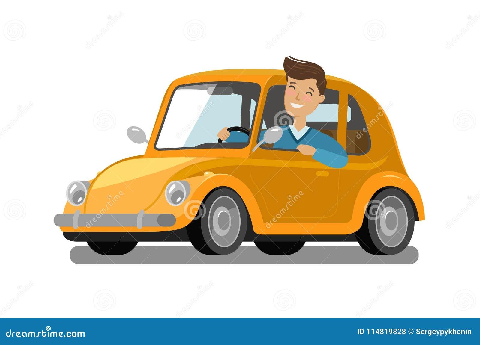 Ο ευτυχής αρσενικός οδηγός οδηγά το αυτοκίνητο Οδήγηση, ταξίδι, έννοια ταξί η αλλοδαπή γάτα κινούμενων σχεδίων δραπετεύει το διάν