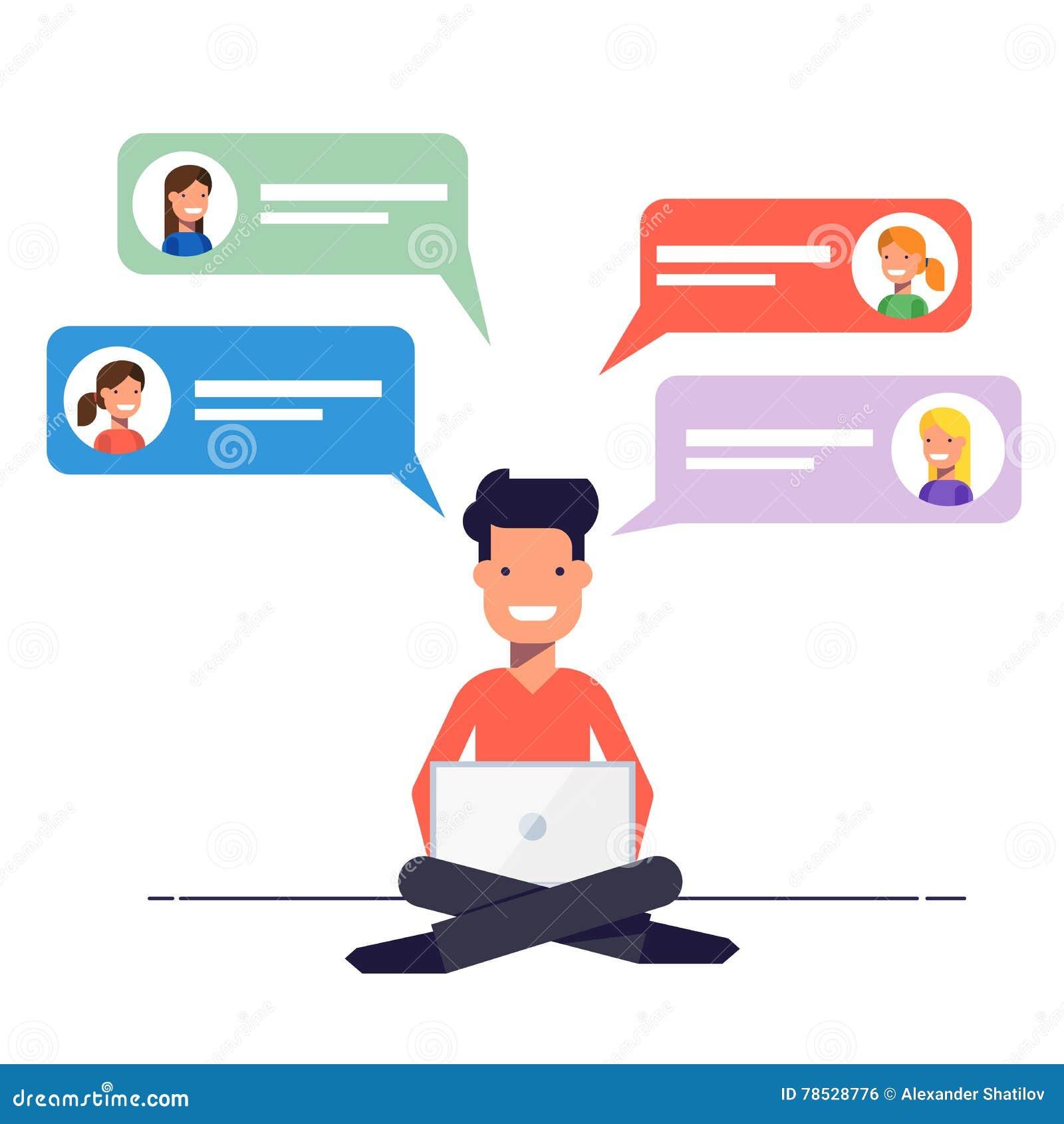Ο ευτυχής τύπος είναι επικαλυμμένος με τα κορίτσια σε μια χρονολογώντας περιοχή Επικοινωνία μέσω της συνομιλίας ή ηλεκτρονικό ταχ