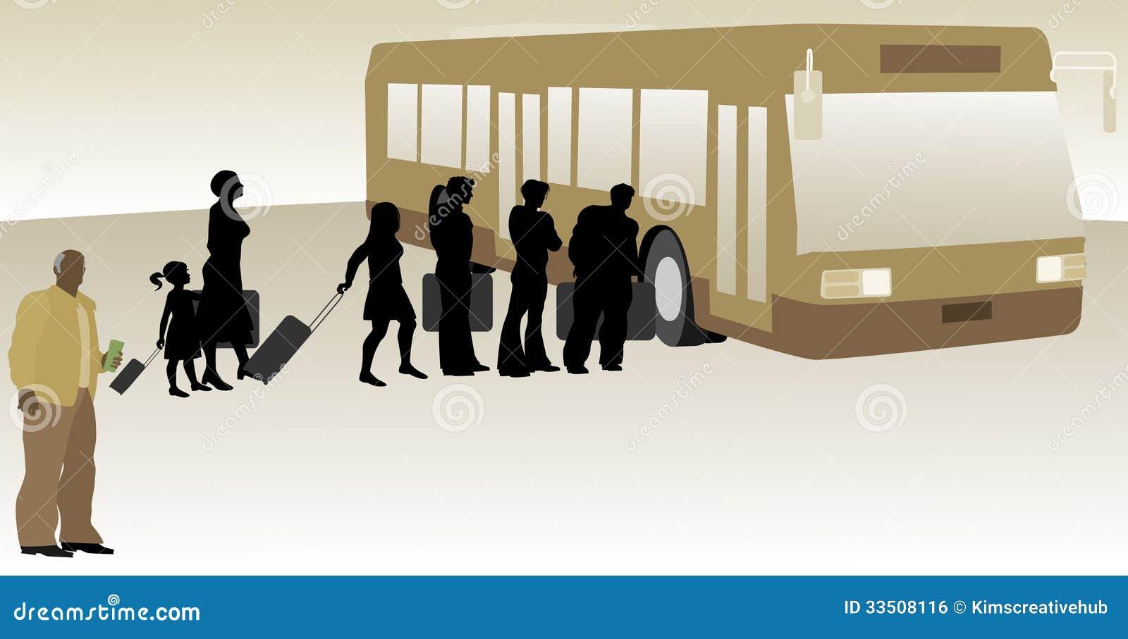 Οδηγός λεωφορείου με την τροφή επιβατών