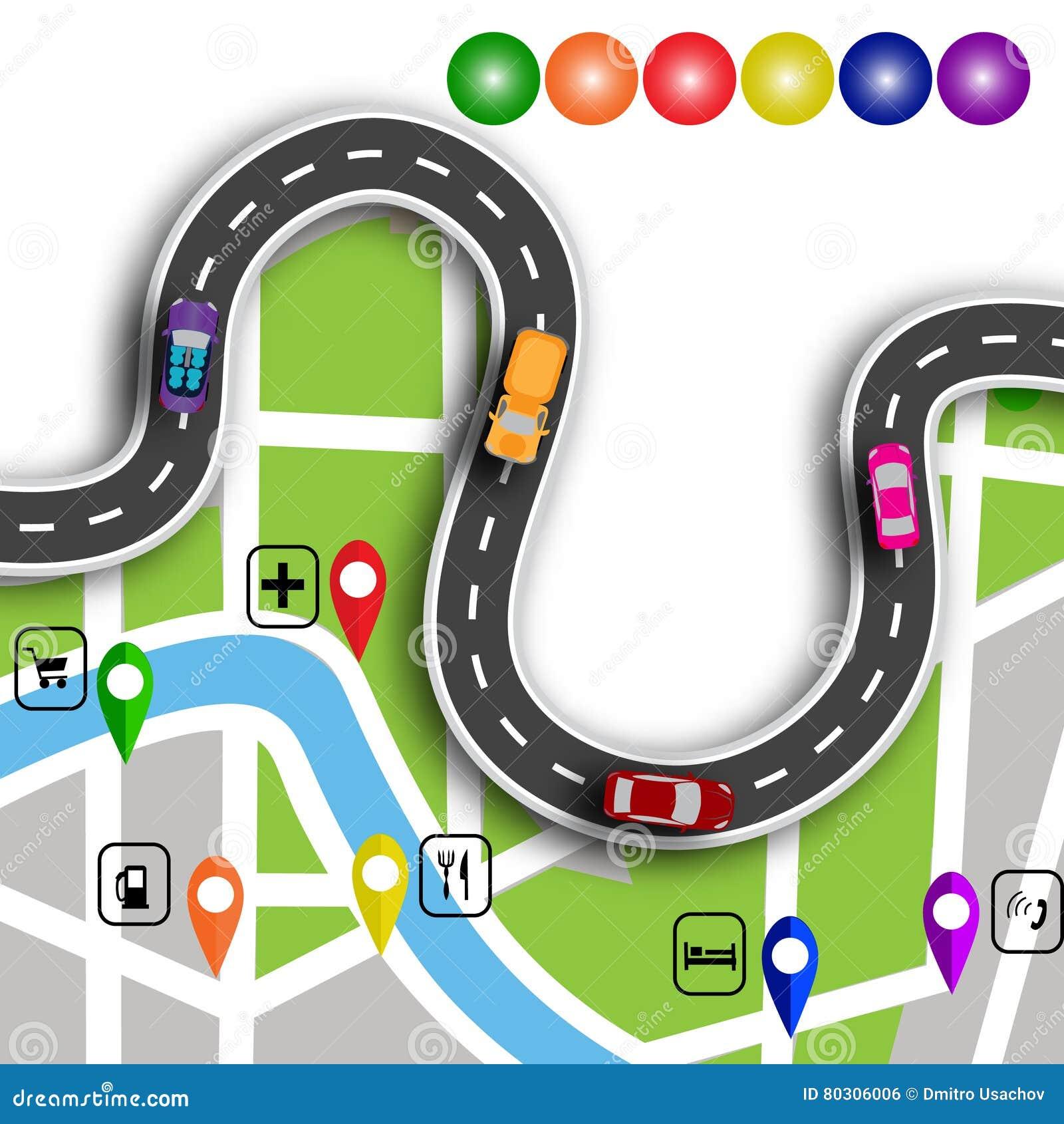 Οδικό infographics Δρόμος με πολλ ες στροφές με τα τρισδιάστατα σημάδια Η πορεία διευκρινίζει τη θέση στον πλοηγό χαρτών απεικόνι