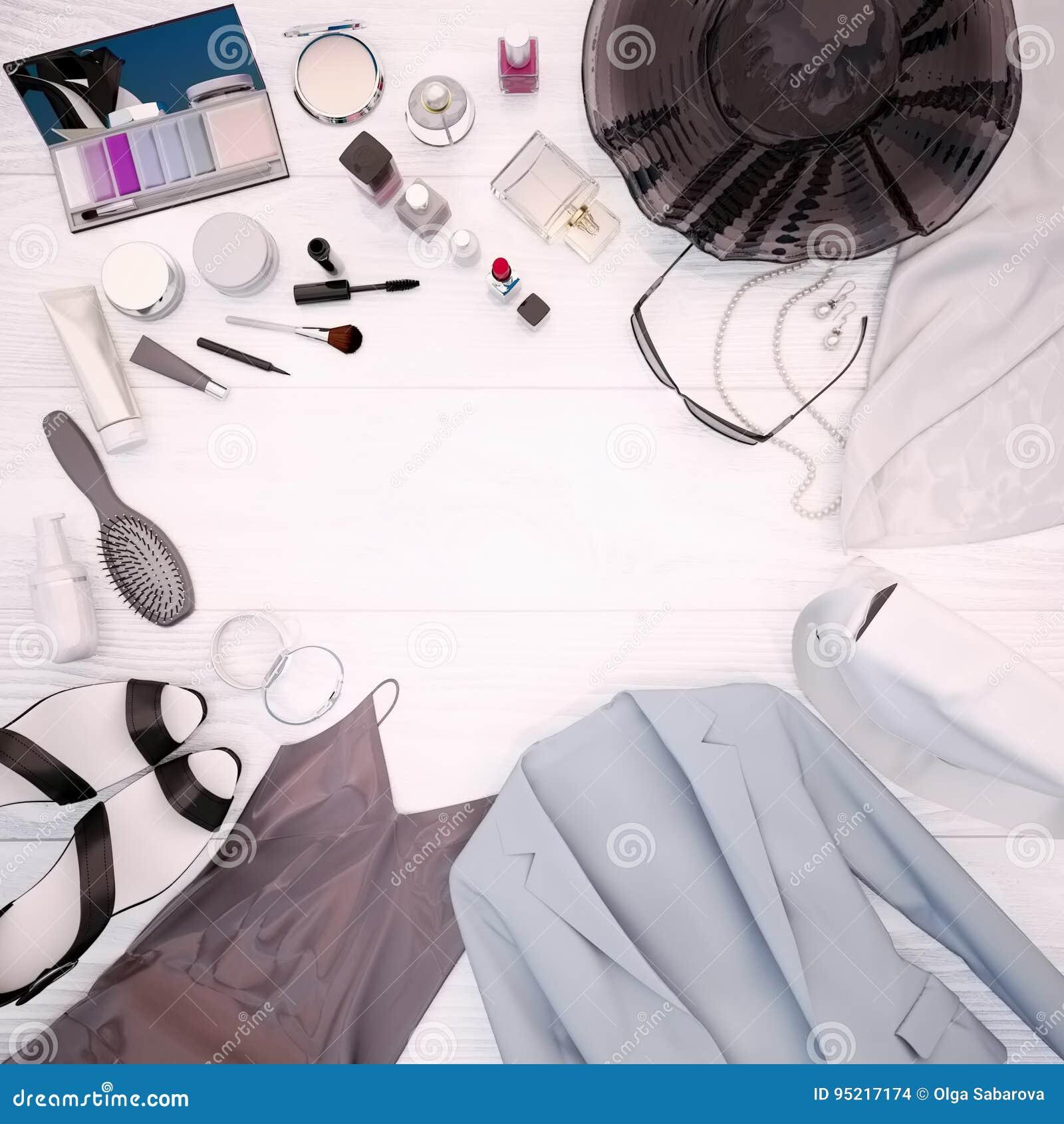 Ο ιματισμός γυναικών ` s, η φροντίδα δέρματος και τα καλλυντικά βρίσκονται σε ένα λευκό