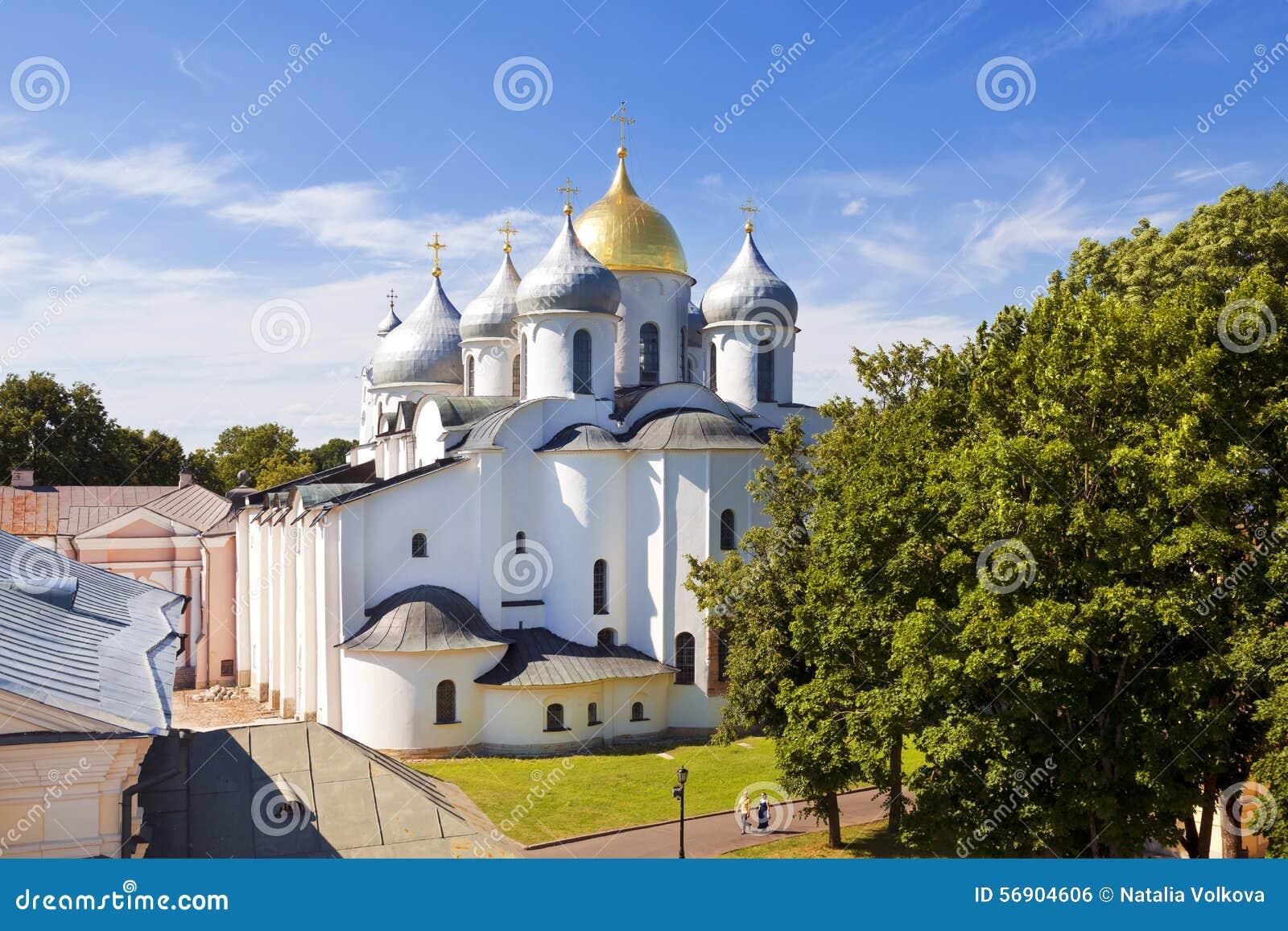 Ο καθεδρικός ναός του ST Sophia (η ιερή φρόνηση του Θεού) στο Novgorod Κρεμλίνο