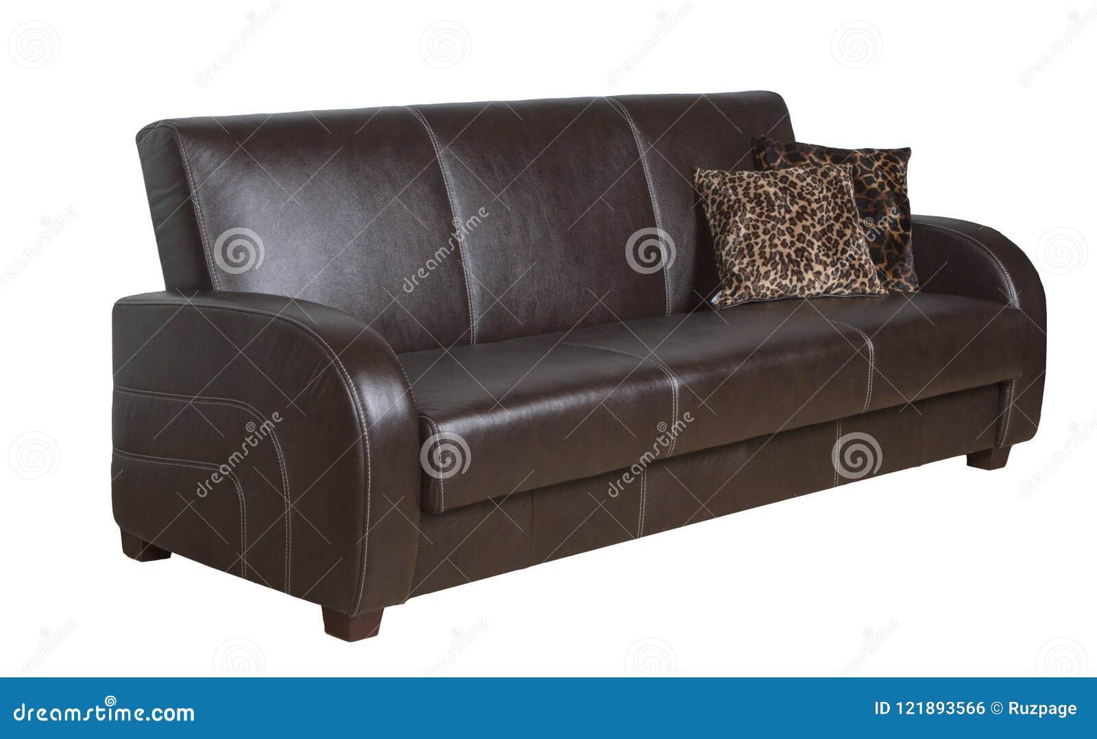 Ο καναπές είναι δέρμα καφετί