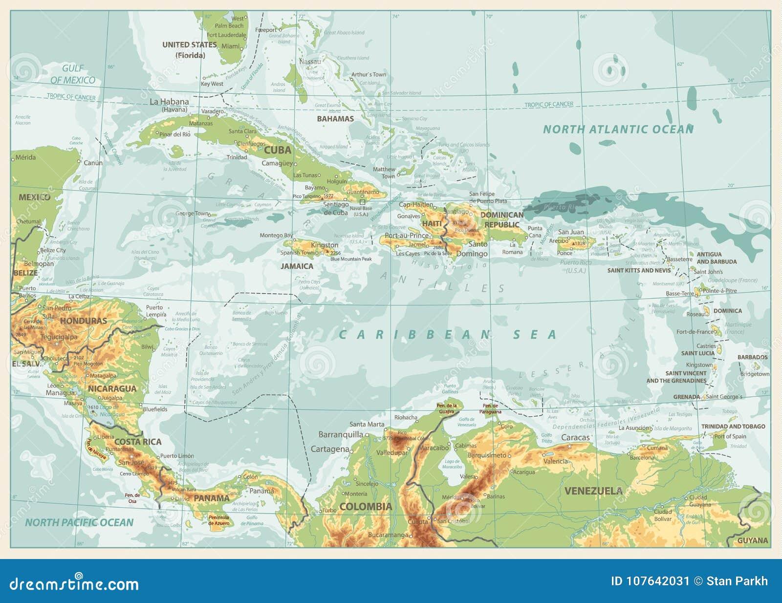 Ο καραϊβικός φυσικός χάρτης Αναδρομικά χρώματα