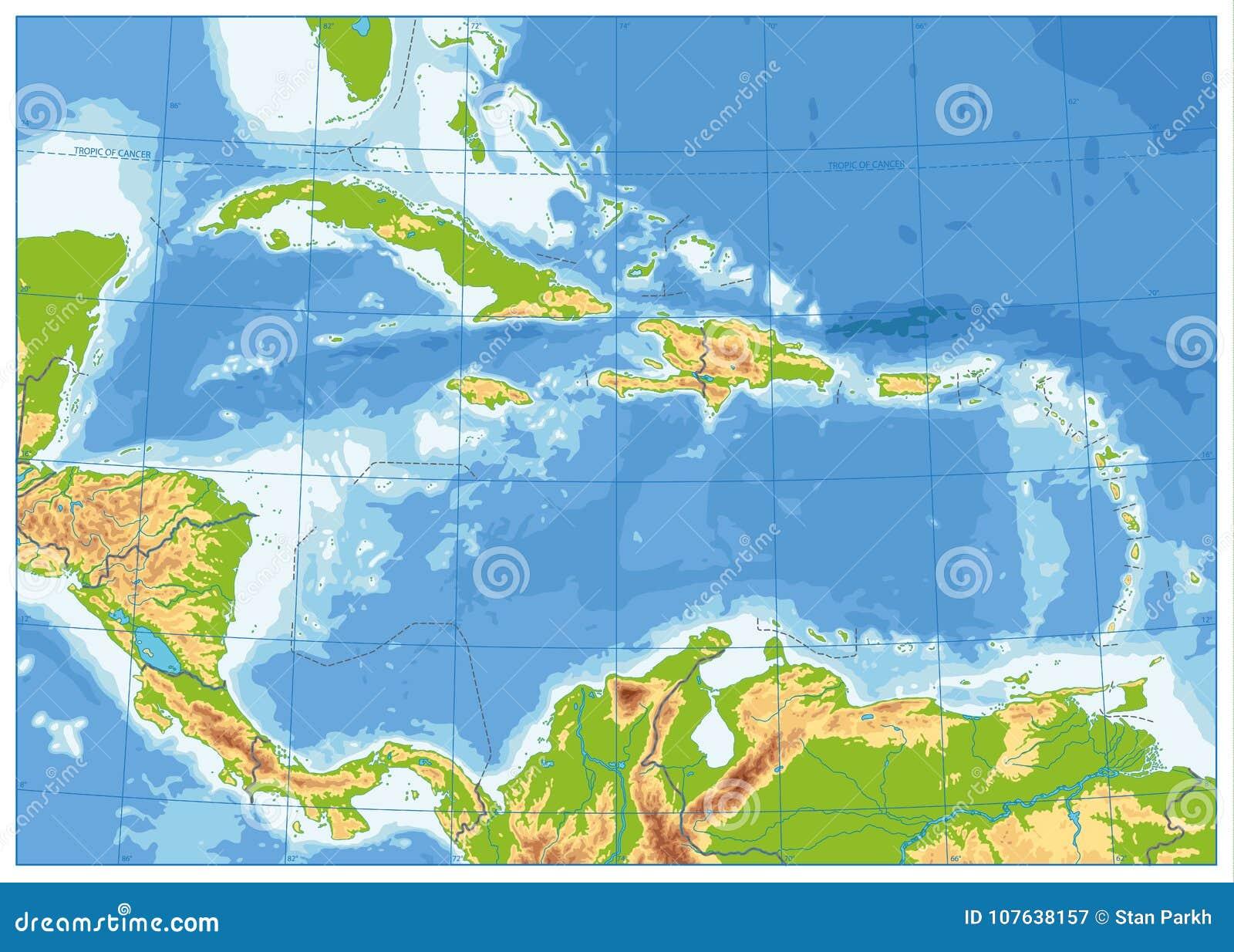 Ο καραϊβικός φυσικός χάρτης κανένα κείμενο
