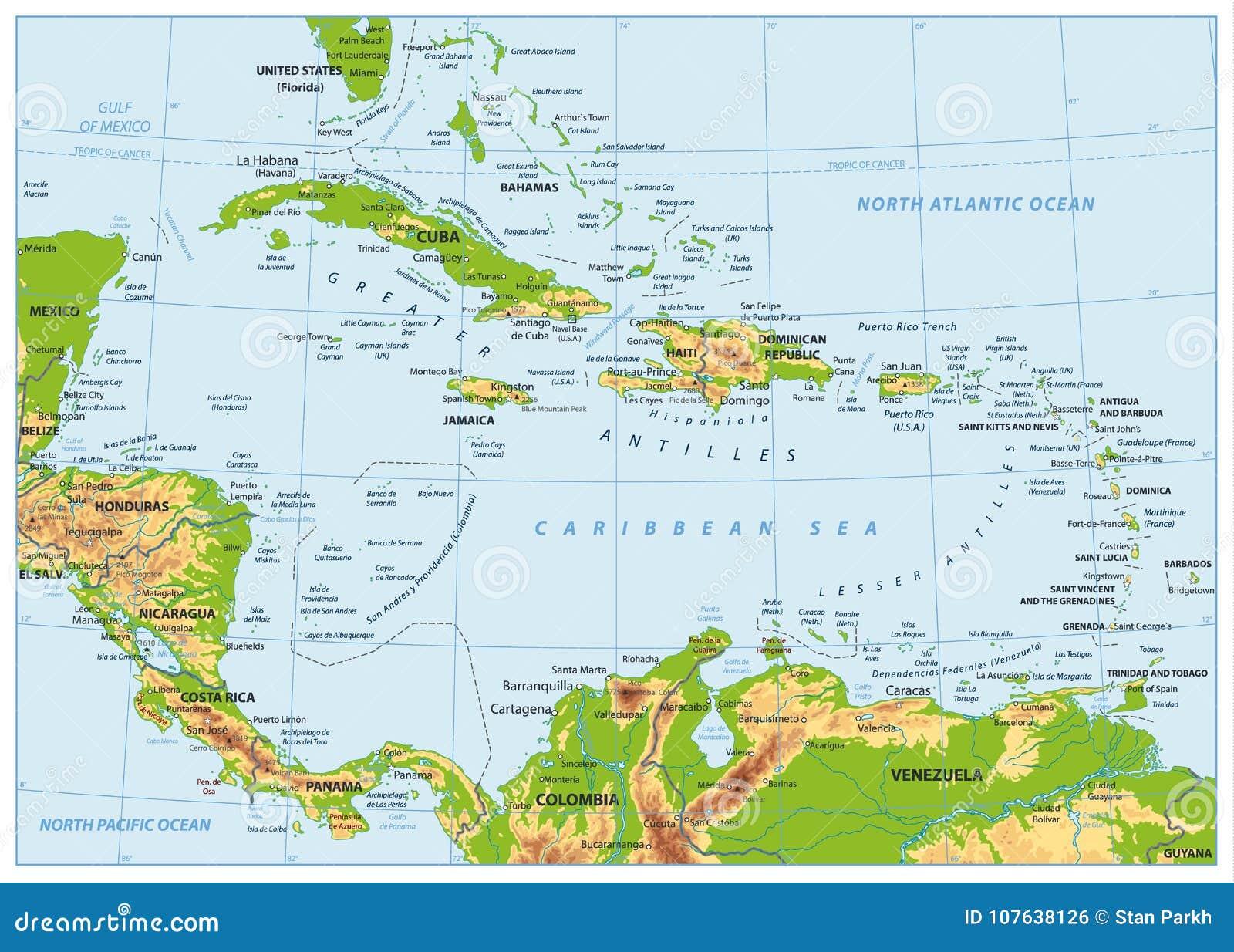 Ο καραϊβικός φυσικός χάρτης Κανένα bathymetry