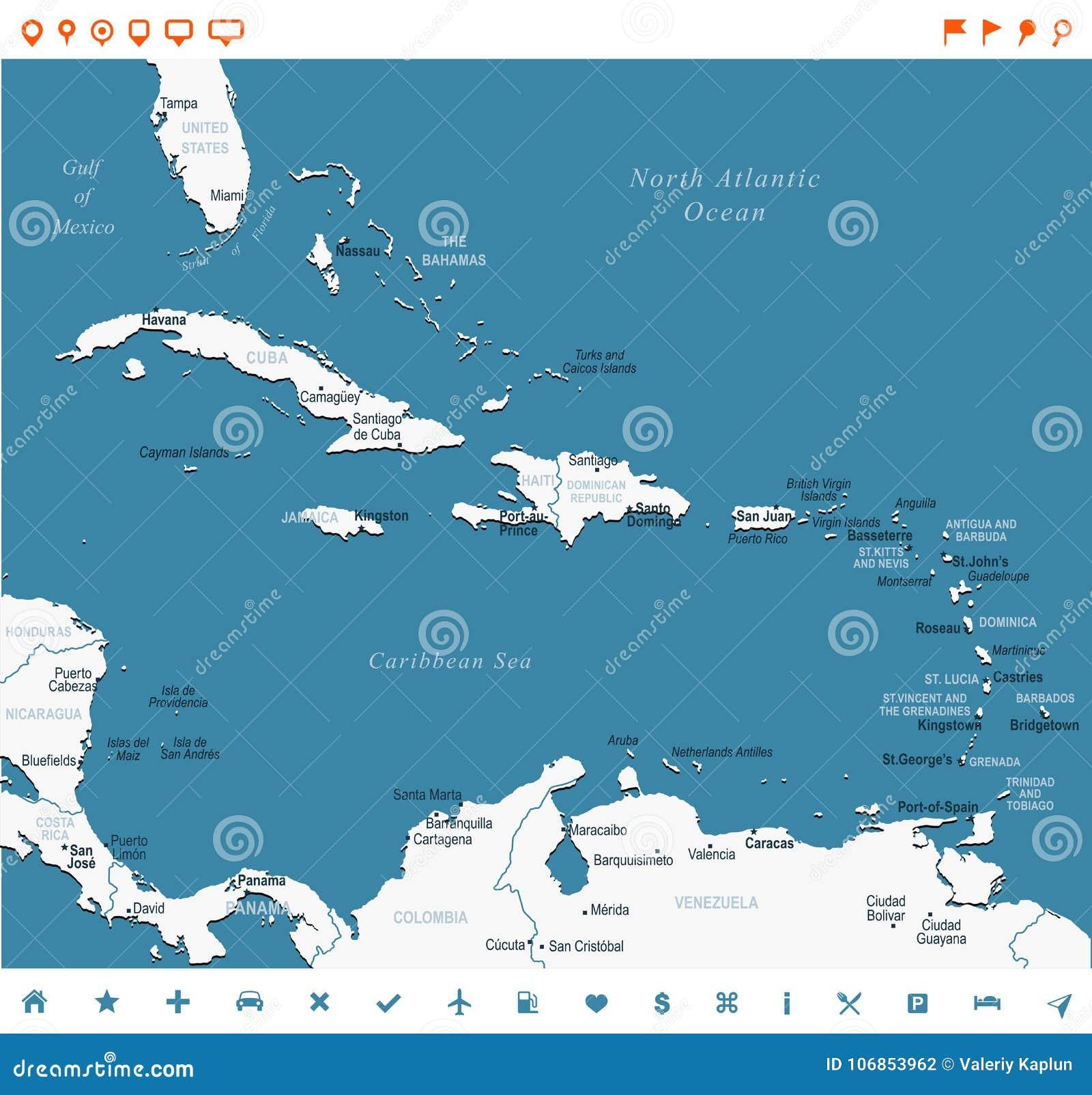 Ο καραϊβικός χάρτης - διανυσματική απεικόνιση