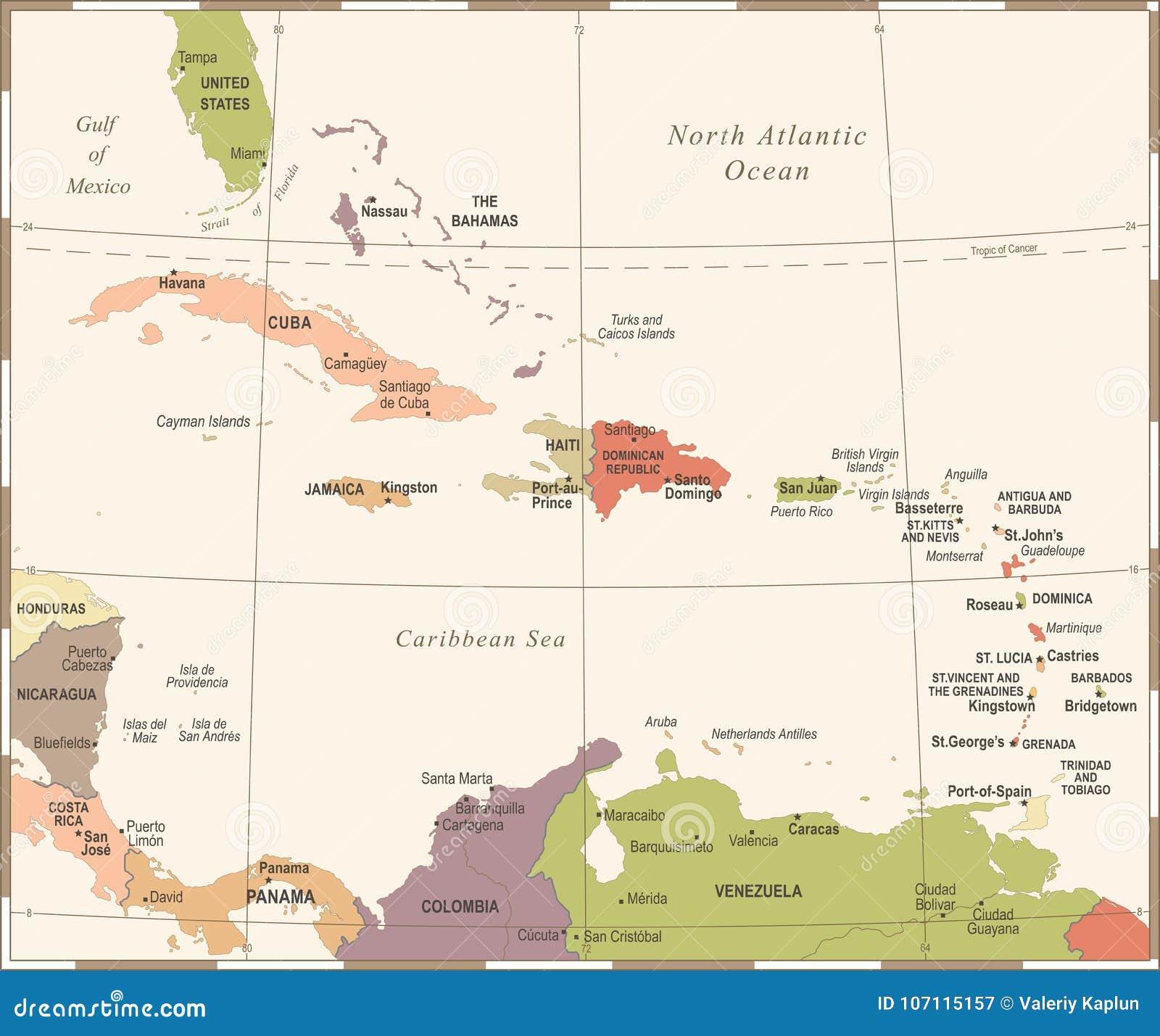 Ο καραϊβικός χάρτης - εκλεκτής ποιότητας διανυσματική απεικόνιση