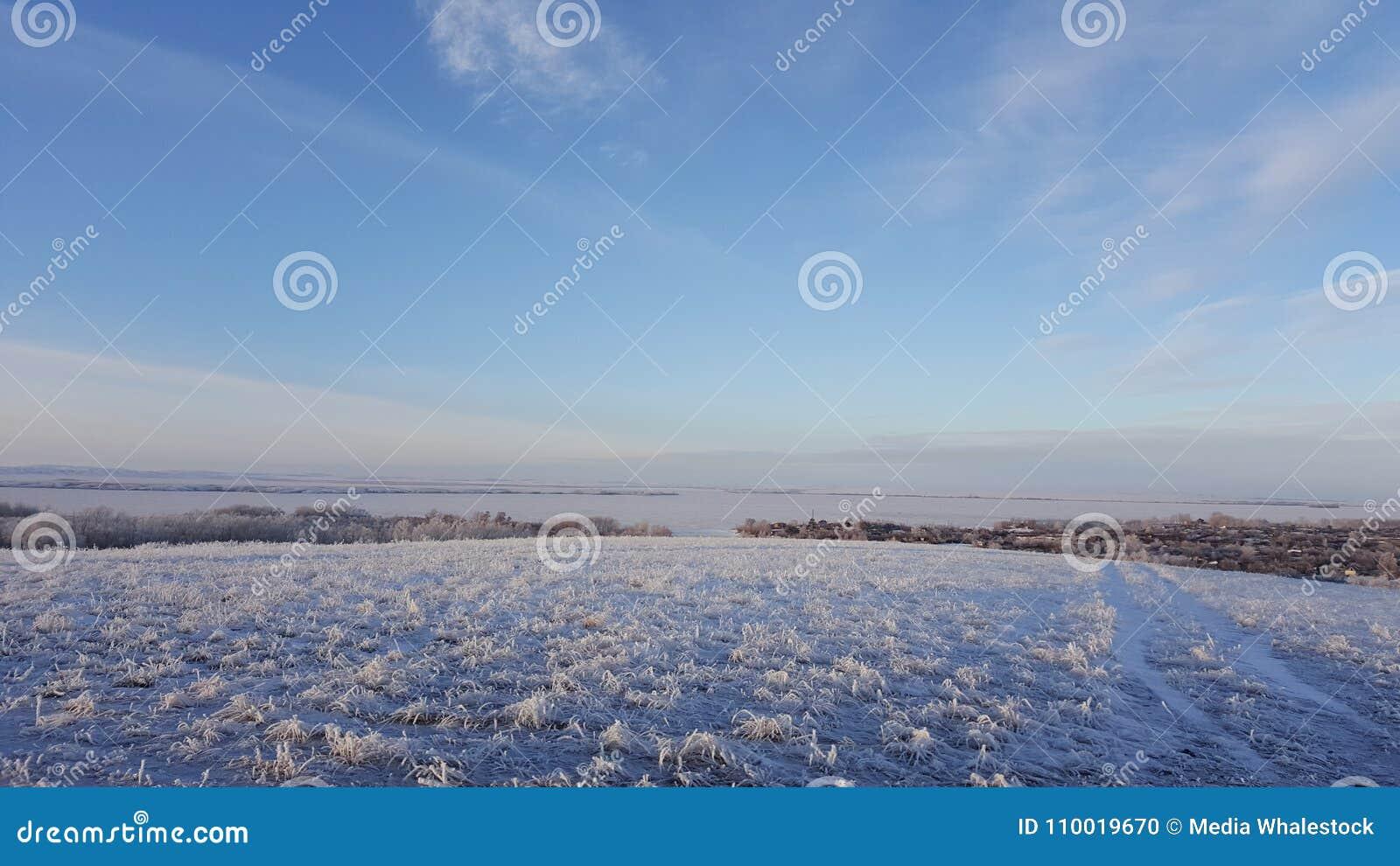 Ο καταπληκτικός βαθύς μπλε ουρανός με cirrus φτερό-που διαμορφώνονται καλύπτει πέρα από το ξηρό λιβάδι - υπόβαθρο φύσης Cirrus σύ