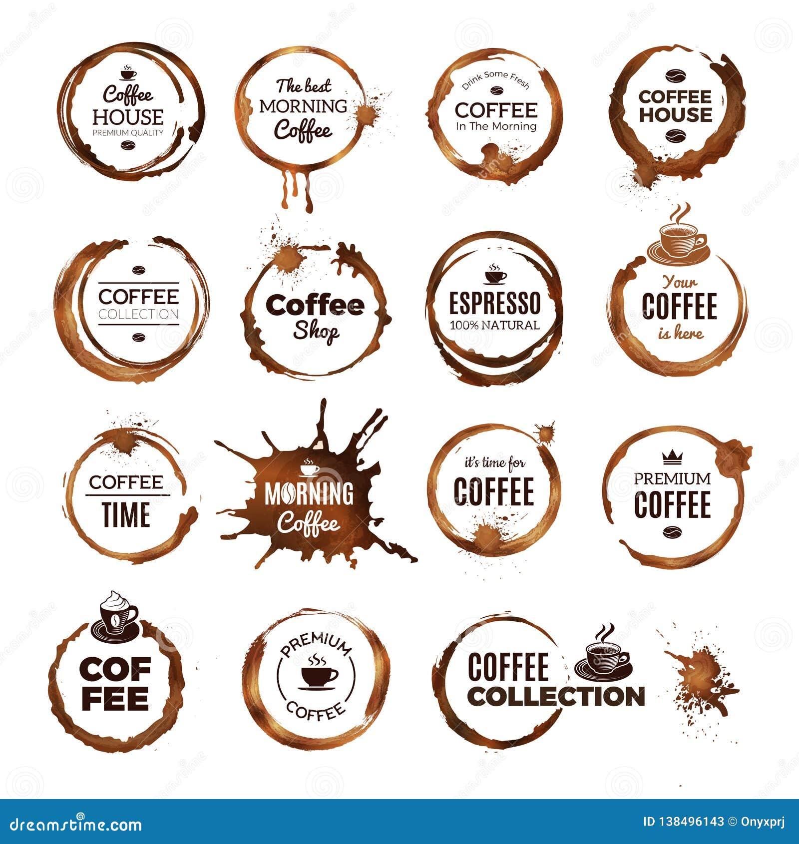 Ο καφές χτυπά τα διακριτικά Ετικέτες με τους βρώμικους κύκλους από το πρότυπο λογότυπων εστιατορίων φλυτζανιών τσαγιού ή καφέ