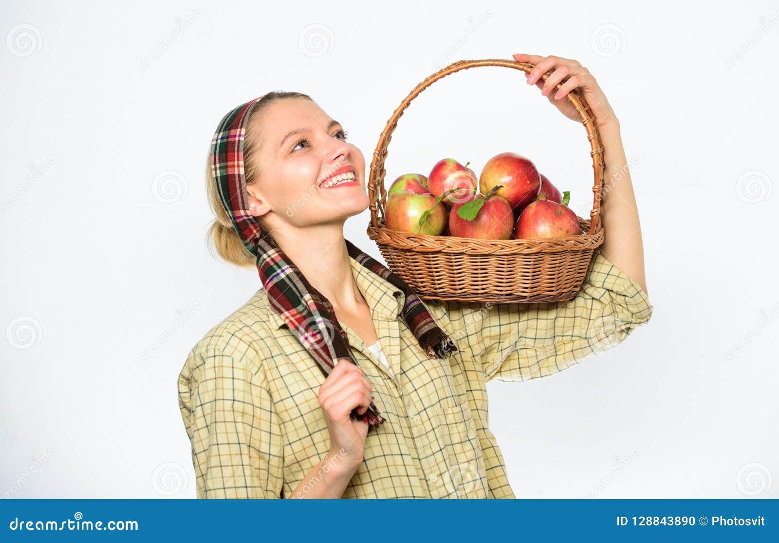 Ο κηπουρός γυναικείων αγροτών ξέρει πώς μάγειρας πολλές συνταγές με τα μήλα Έννοια συνταγής μαγείρων Ο χωρικός γυναικών φέρνει το