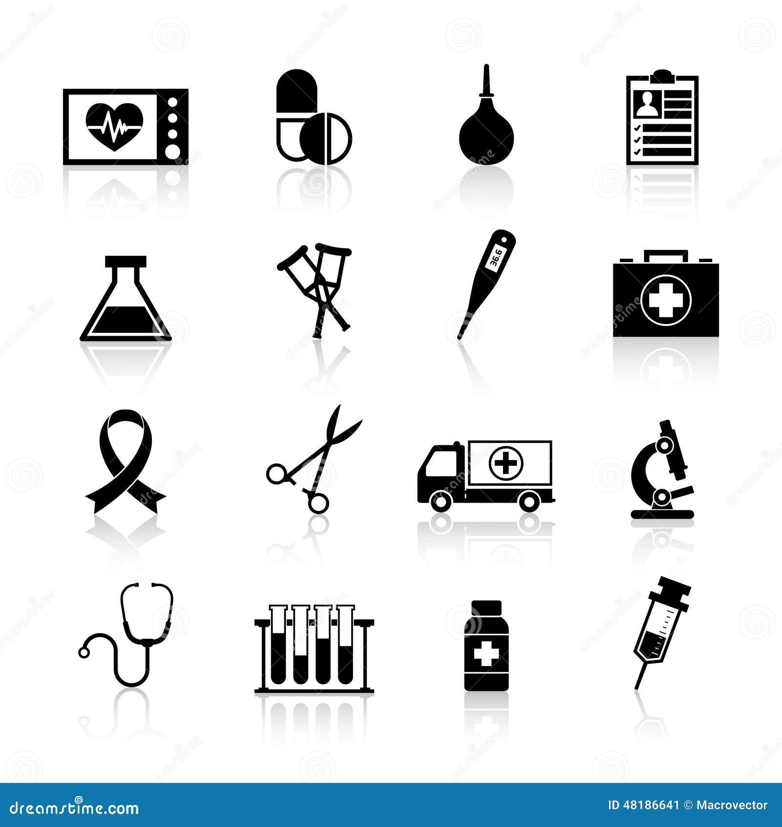 Ο Μαύρος εικονιδίων ιατρικού εξοπλισμού