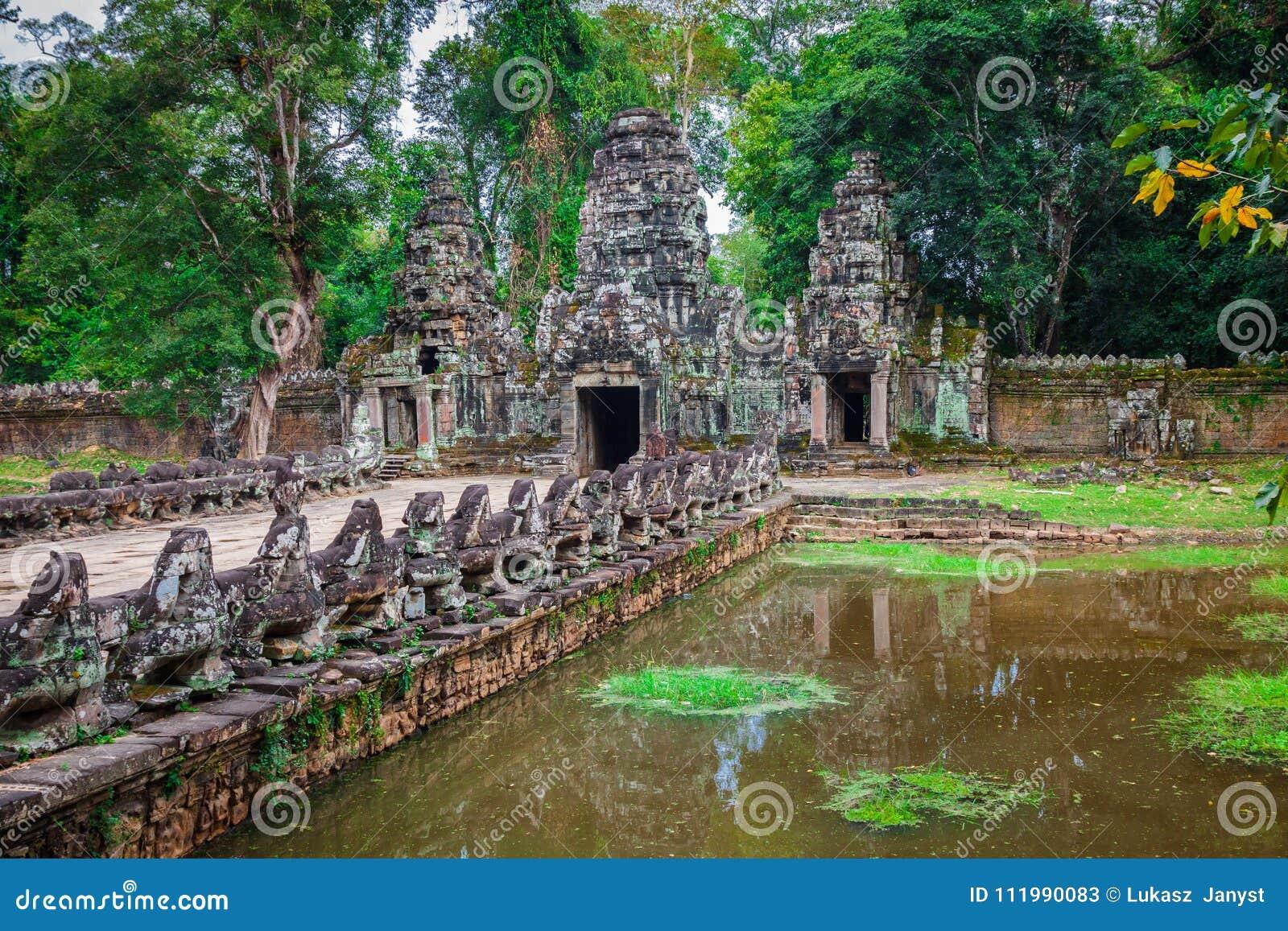 Ο ναός Khan Preah, περιοχή Angkor, Siem συγκεντρώνει, Καμπότζη