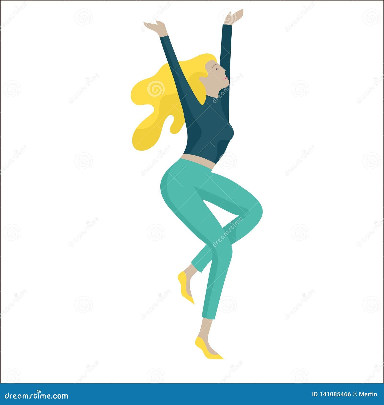 Ο πηδώντας χαρακτήρας σε διάφορο θέτει Ευτυχείς θετικές νεαροί άνδρες ή γυναίκες που χαίρονται μαζί, ευτυχία, ελευθερία