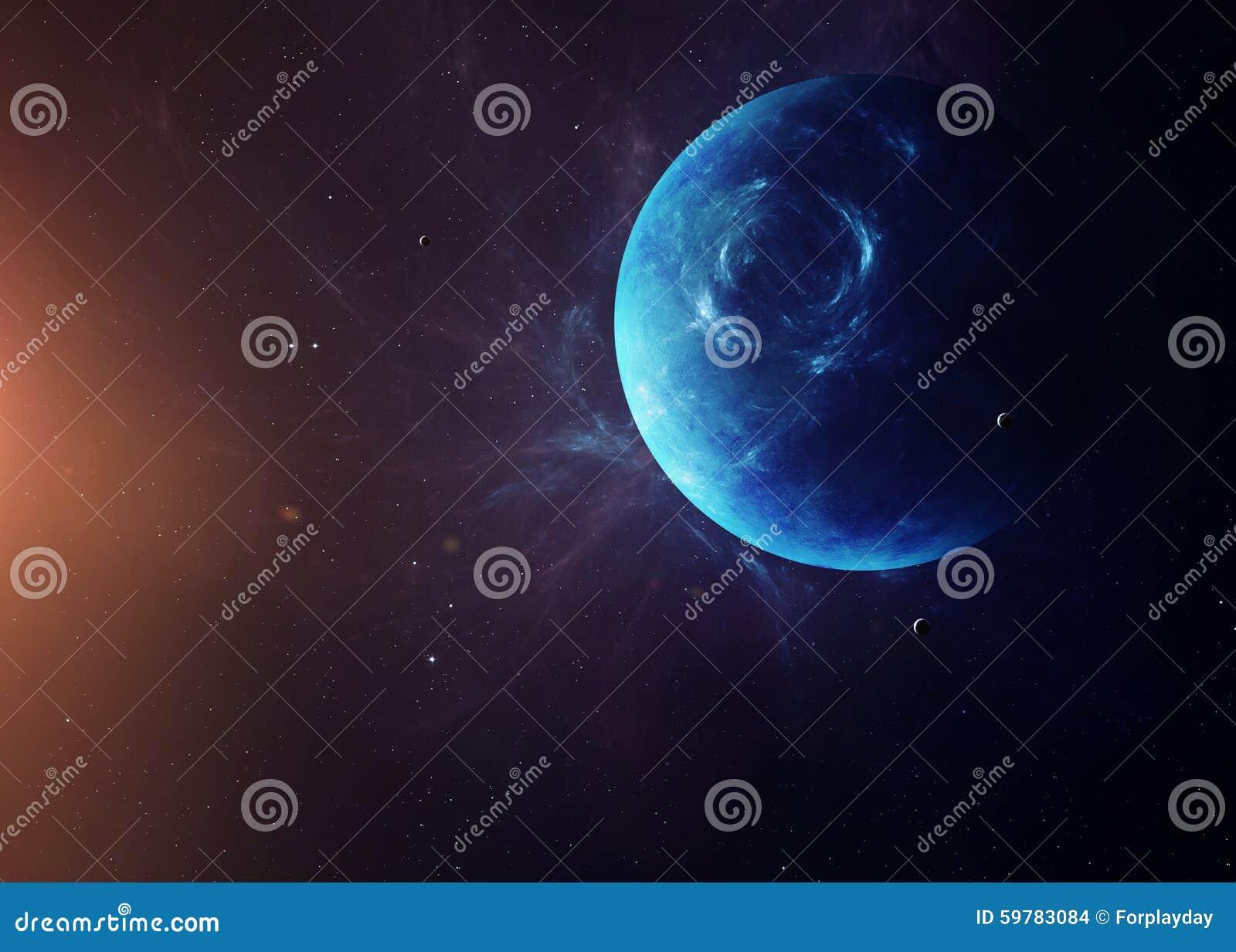 Ο Ποσειδώνας με τα φεγγάρια από τη διαστημική παρουσίαση όλη αυτοί