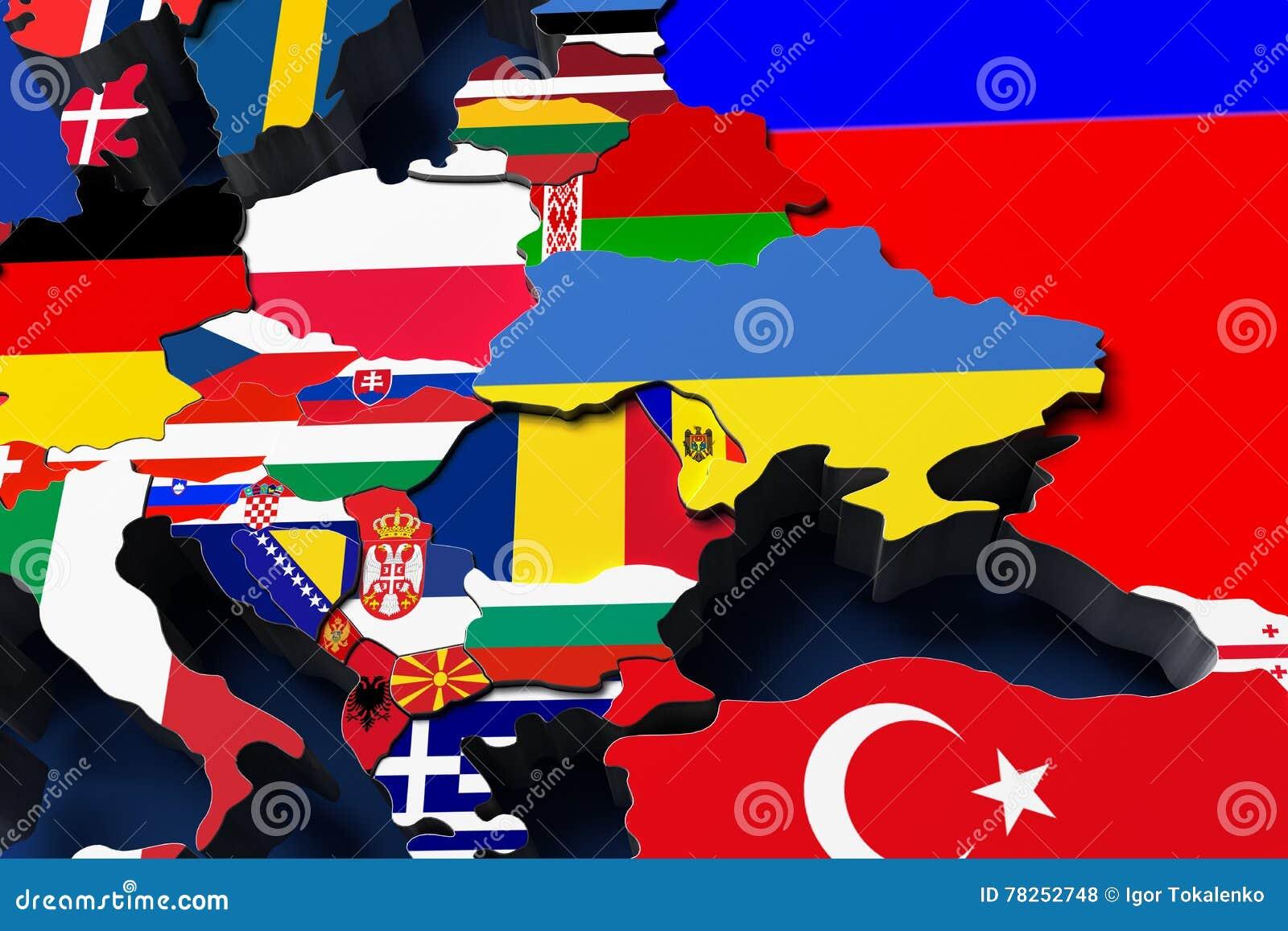 Ο πολιτικός χάρτης της Ευρώπης τρισδιάστατος δίνει