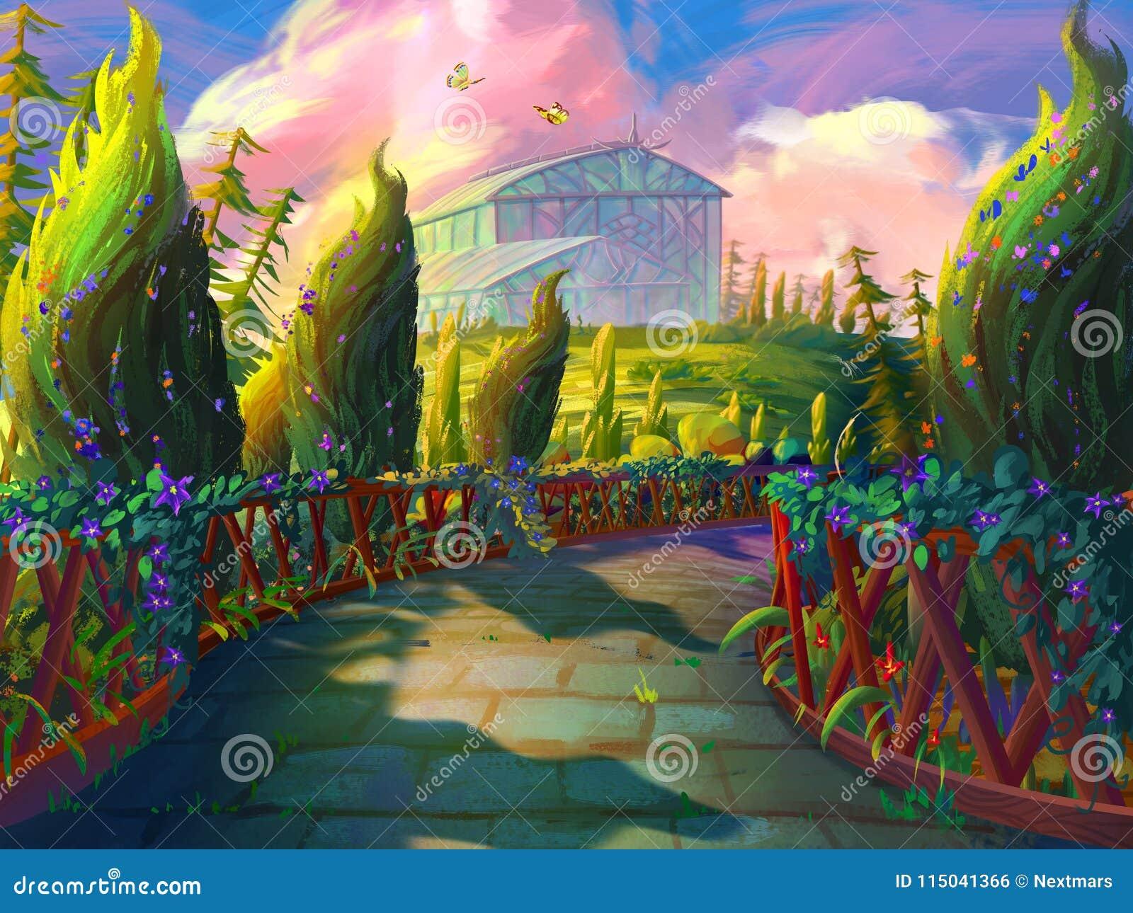 Ο πράσινος κήπος με το θερμοκήπιο λουλουδιών με το φανταστικό, ρεαλιστικό και φουτουριστικό ύφος
