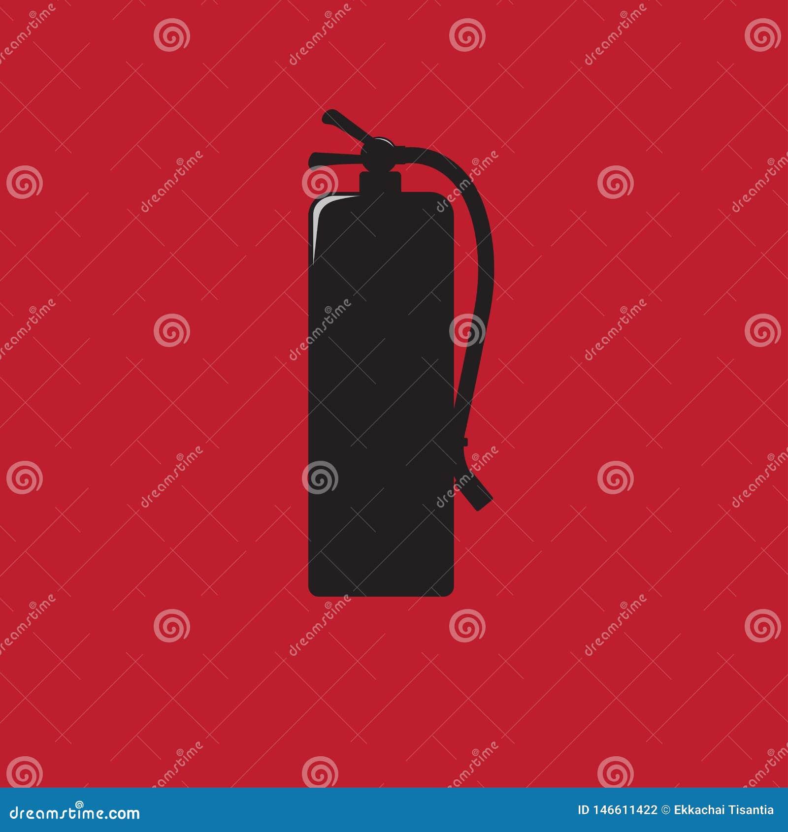Ο πυροσβεστήρας υπογράφει τη μαύρη διανυσματική απεικόνιση εικονιδίων